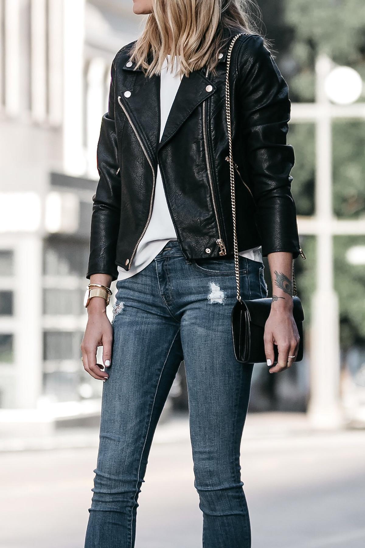 Nordstrom Anniversary Sale Black Leather Moto Jacket Denim Skinny Jeans Fashion Jackson Dallas Blogger Fashion Blogger