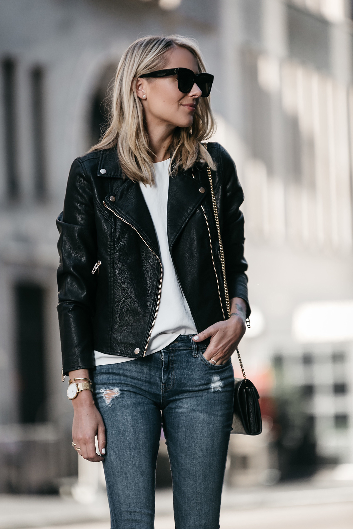 Blonde Woman Wearing Nordstrom Anniversary Sale Black Leather Moto Jacket Denim Skinny Jeans Fashion Jackson Dallas Blogger Fashion Blogger