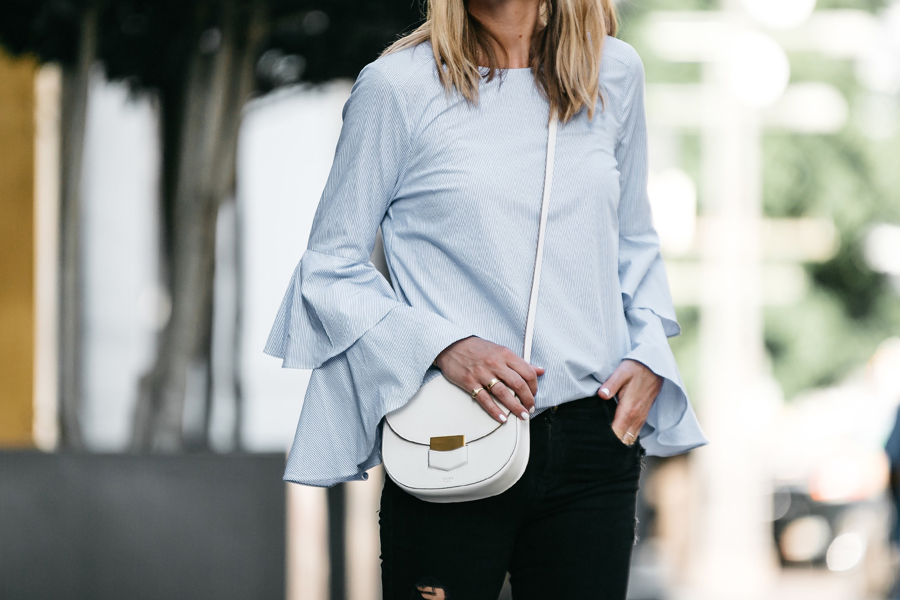 Nordstrom Blue Bell Sleeve Top Black Ripped Skinny Jeans Outfit Celine Trotteur White Crossbody Fashion Jackson Dallas Blogger Fashion Blogger Street Style