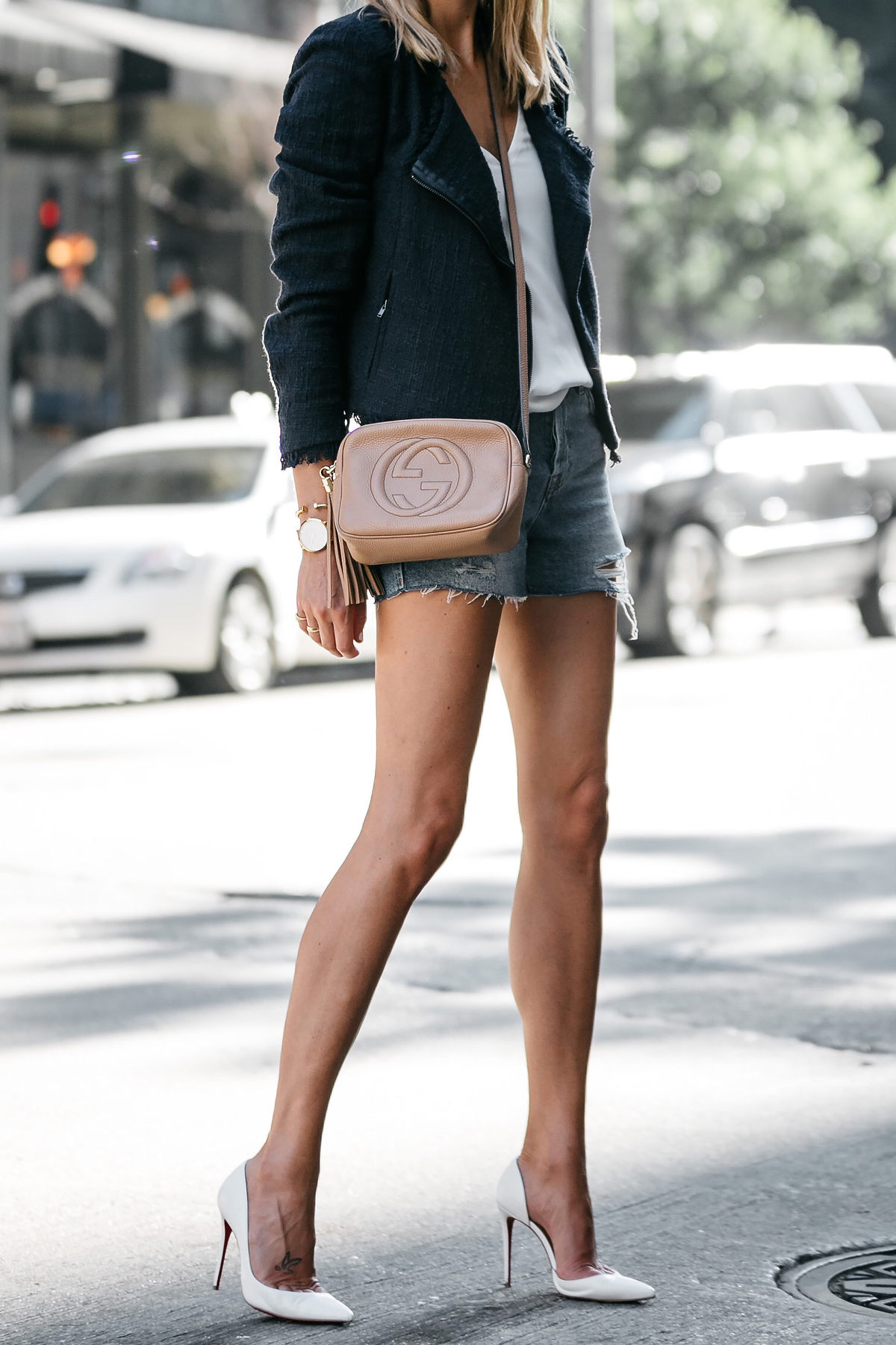 Nordstrom Anniversary Sale Navy Tweed Jacket White Cami Topshop Denim Ripped Shorts Outfit Christian Louboutin White Pumps Gucci Soho Handbag Fashion Jackson Dallas Blogger Fashion Blogger Street Style