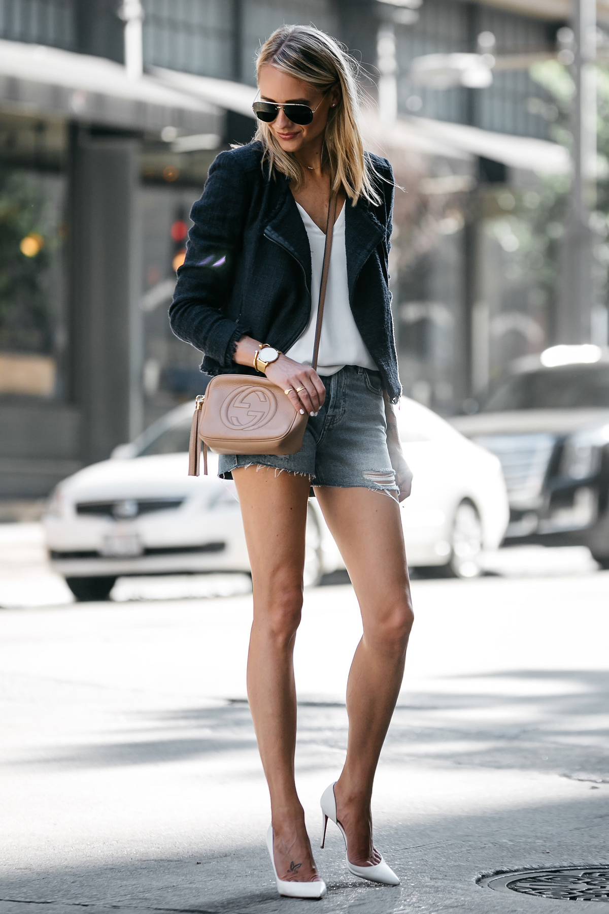 Blonde Woman Wearing Nordstrom Anniversary Sale Navy Tweed Jacket White Cami Topshop Denim Ripped Shorts Outfit Christian Louboutin White Pumps Gucci Soho Handbag Fashion Jackson Dallas Blogger Fashion Blogger Street Style