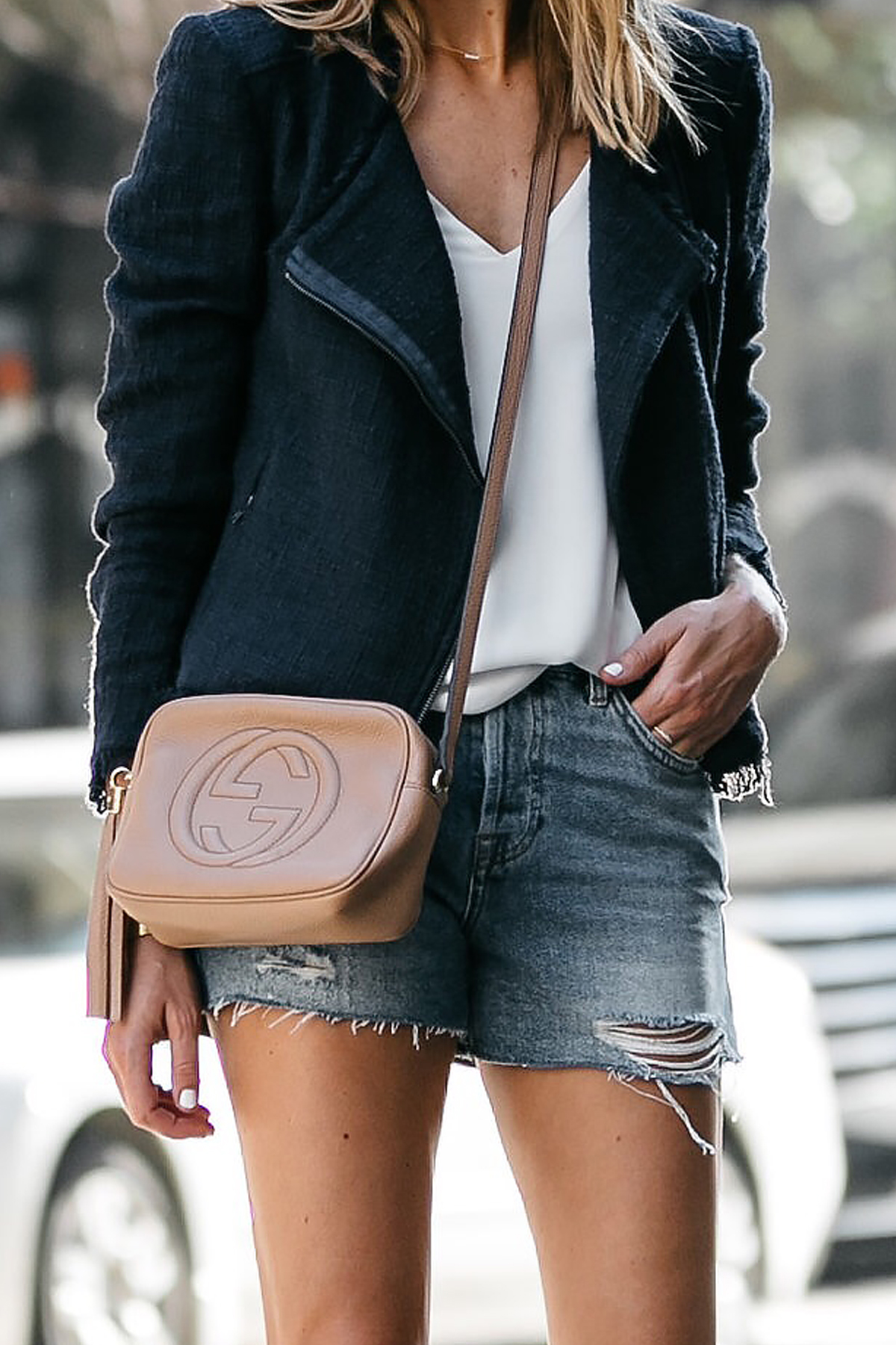 Nordstrom Anniversary Sale Navy Tweed Jacket White Cami Topshop Denim Ripped Shorts Outfit Gucci Soho Handbag Fashion Jackson Dallas Blogger Fashion Blogger Street Style