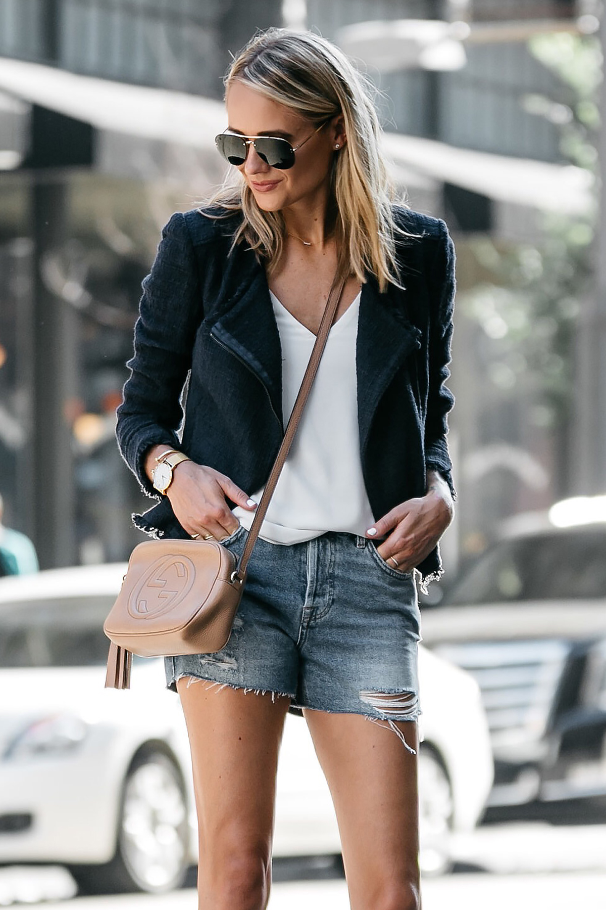 Blonde Woman Wearing Nordstrom Anniversary Sale Navy Tweed Jacket White Cami Topshop Denim Ripped Shorts Outfit Gucci Soho Handbag Fashion Jackson Dallas Blogger Fashion Blogger Street Style