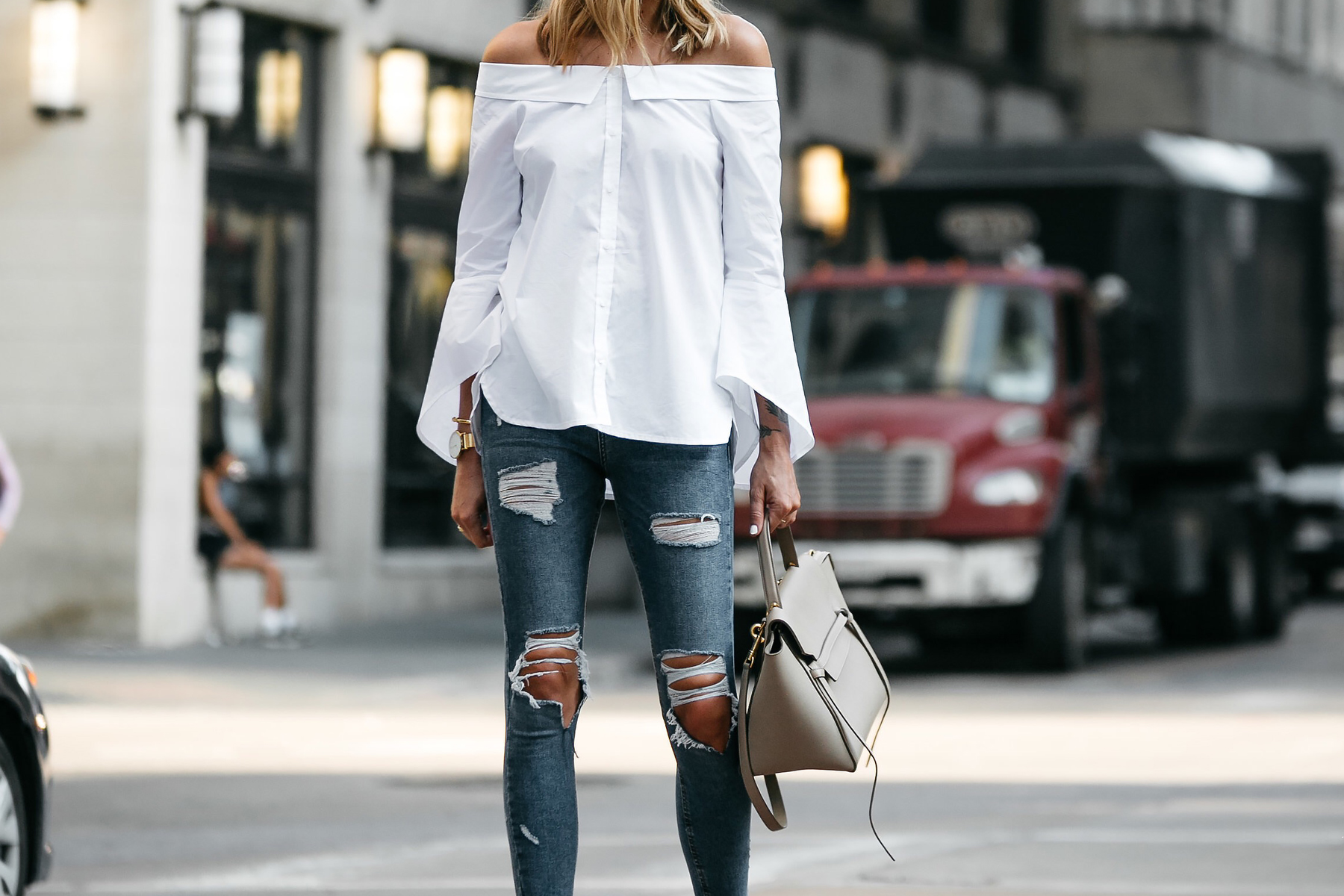 Nordstrom Anniversary Sale White Bell-Sleeve off-the-shoulder Top Topshop Denim Ripped Skinny Jeans Outfit Celine Belt Bag Fashion Jackson Dallas Blogger Fashion Blogger Street Style