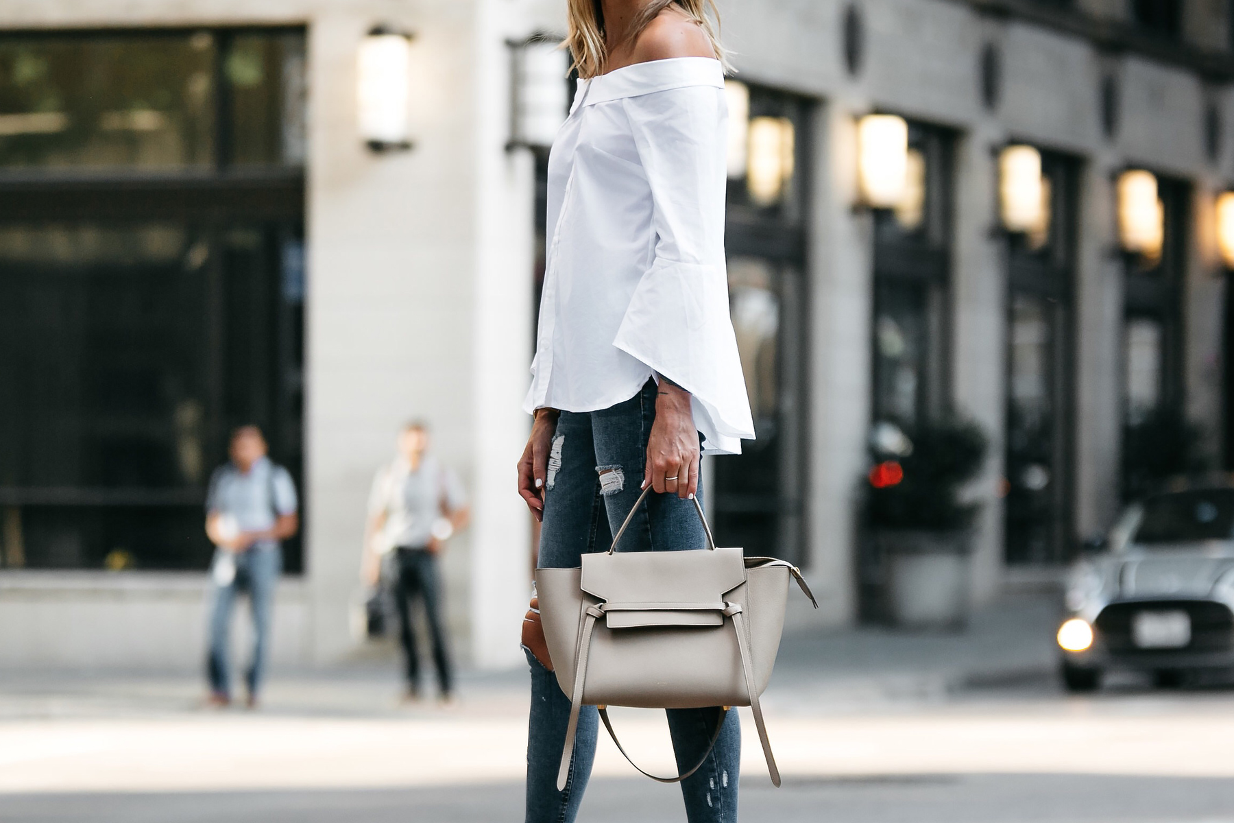 Nordstrom Anniversary Sale White Bell-Sleeve off-the-shoulder Top Topshop Denim Ripped Skinny Outfit Jeans Celine Belt Bag Fashion Jackson Dallas Blogger Fashion Blogger Street Style