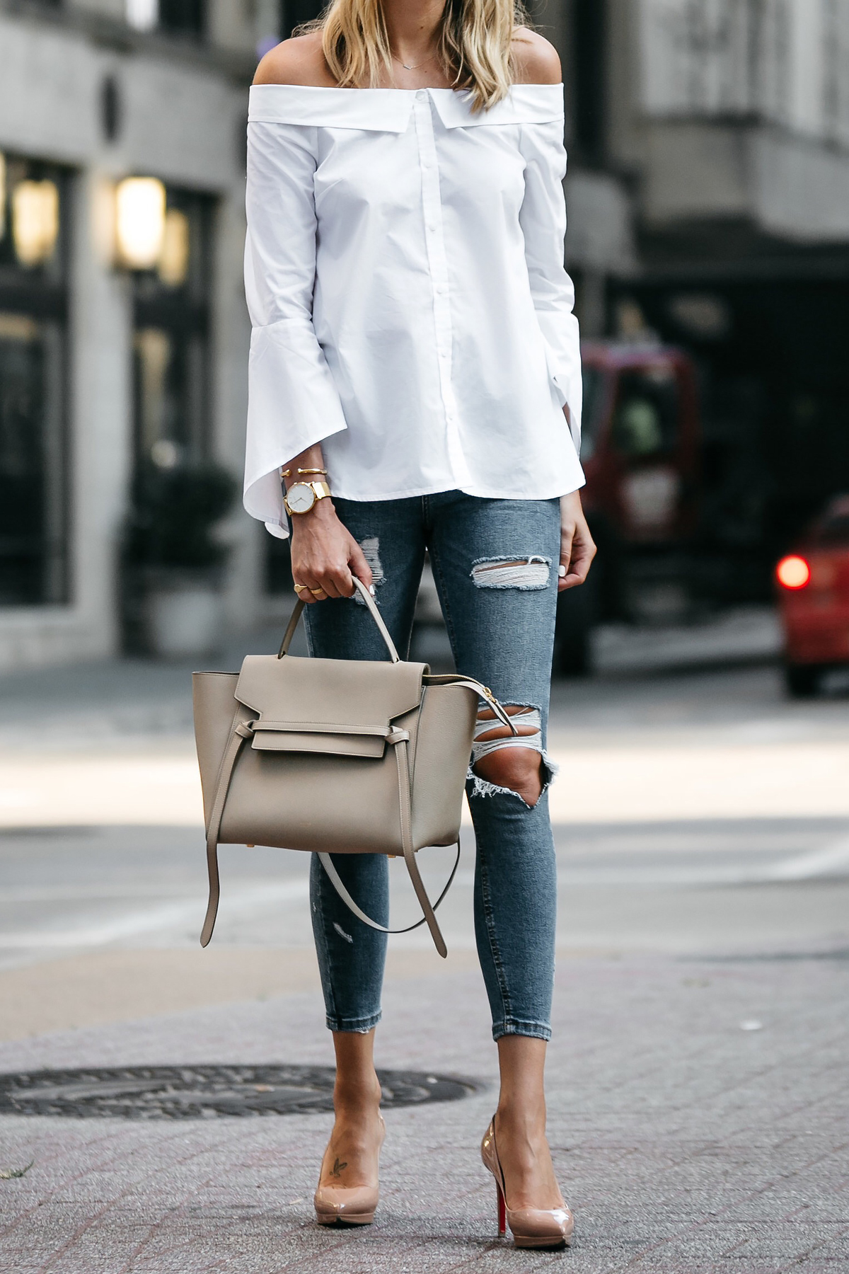 Nordstrom Anniversary Sale White Bell-Sleeve off-the-shoulder Top Topshop Denim Ripped Skinny Jeans Outfit Christian Louboutin Nude Pumps Celine Belt Bag Fashion Jackson Dallas Blogger Fashion Blogger Street Style