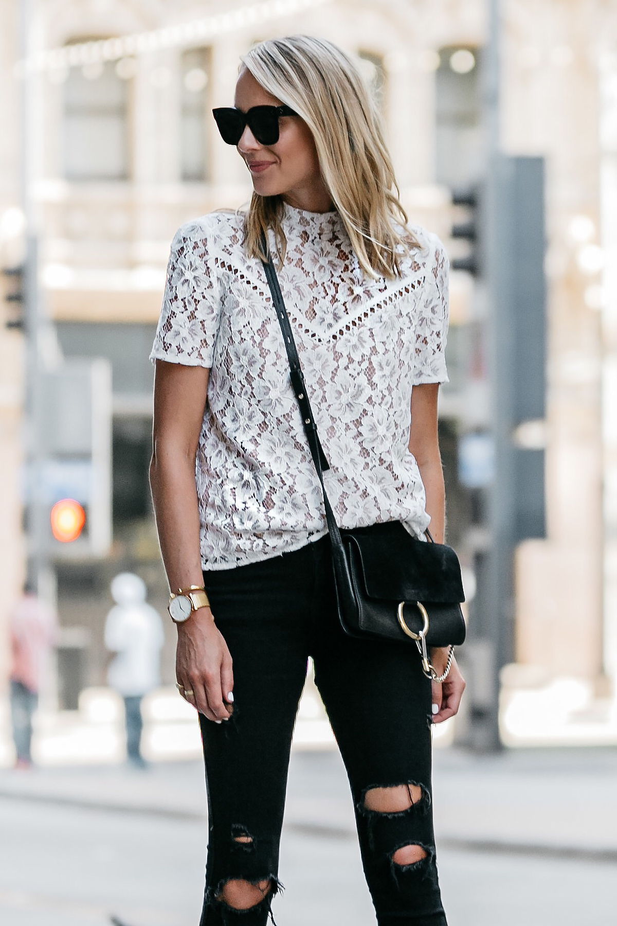 Blonde Woman Wearing Nordstrom Anniversary Sale White Lace Top Zara Black Ripped Skinny Jeans Outfit Chloe Faye Handbag Fashion Jackson Dallas Blogger Fashion Blogger