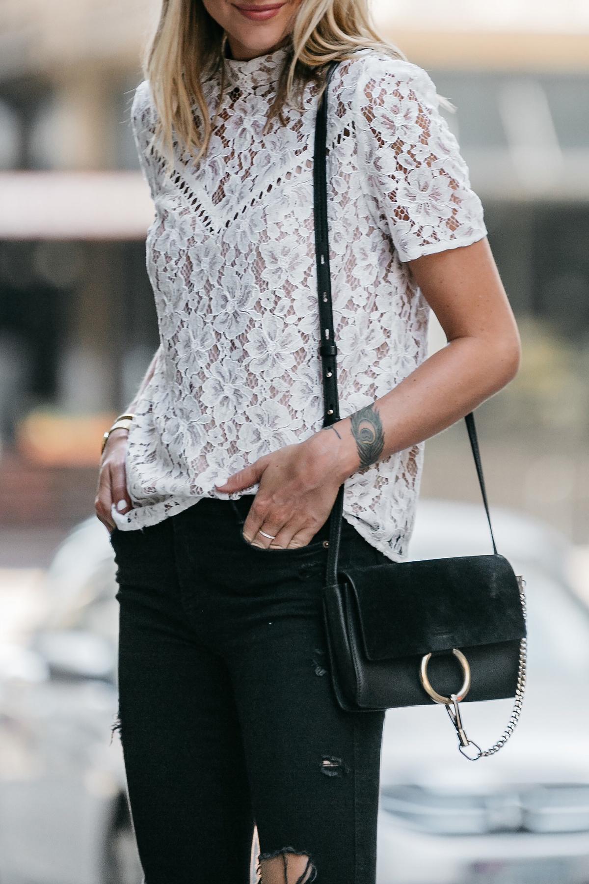 89b07958507ddb Nordstrom Anniversary Sale White Lace Top Zara Black Ripped Skinny Jeans  Outfit Chloe Faye Handbag Fashion