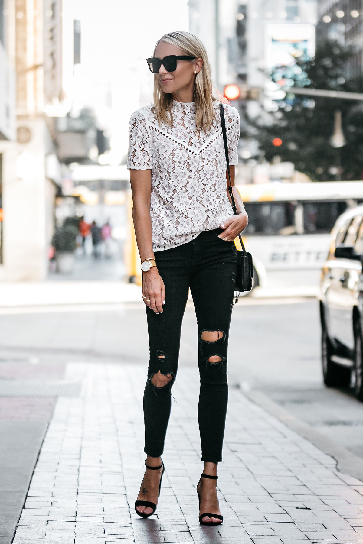 41fcbdad Blonde Woman Wearing Nordstrom Anniversary Sale White Lace Top Zara Black  Ripped Skinny Jeans Outfit Black