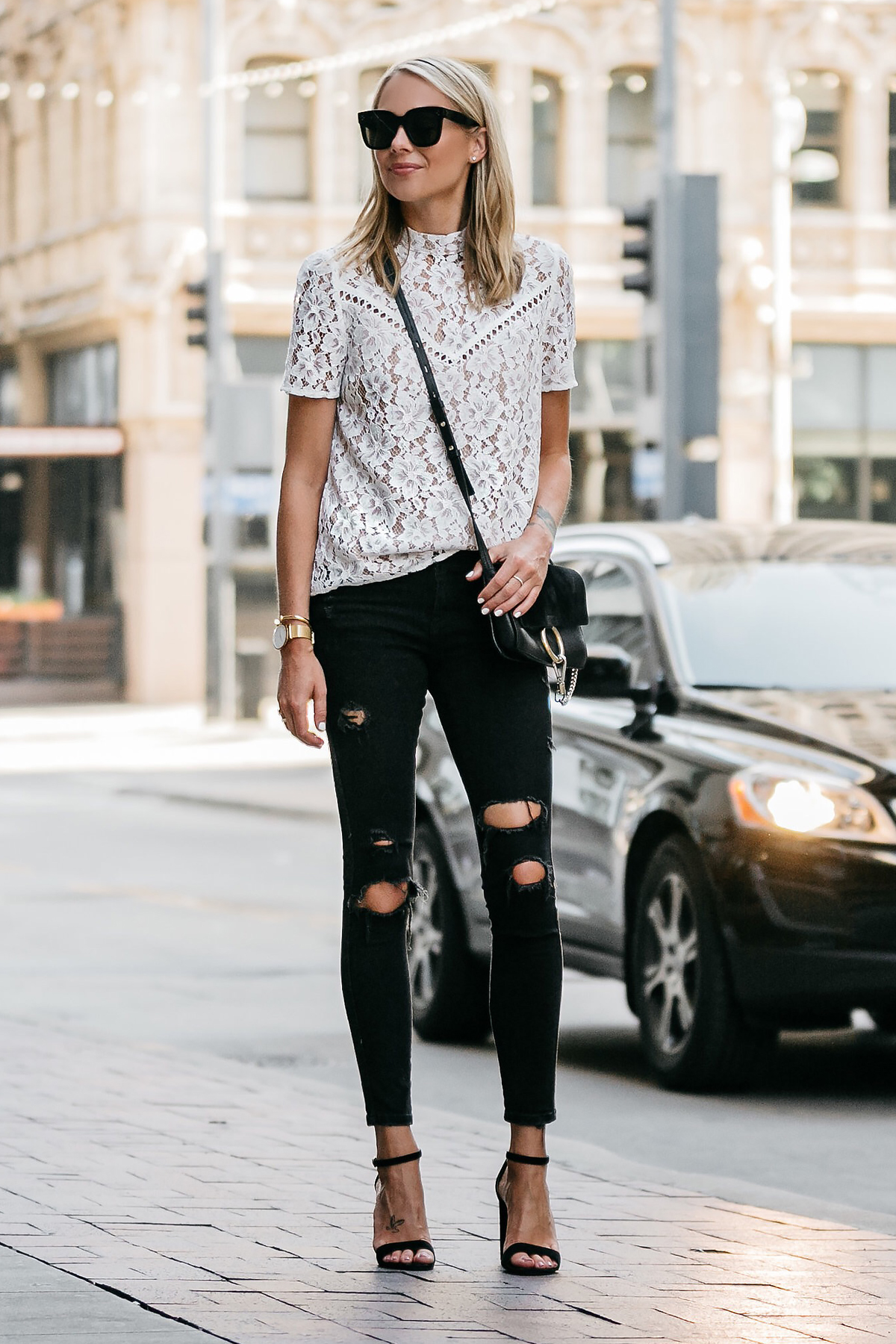 Blonde Woman Wearing Nordstrom Anniversary Sale White Lace Top Zara Black Ripped Skinny Jeans Outfit Black Ankle Strap Heeled Sandals Chloe Faye Handbag Fashion Jackson Dallas Blogger Fashion Blogger