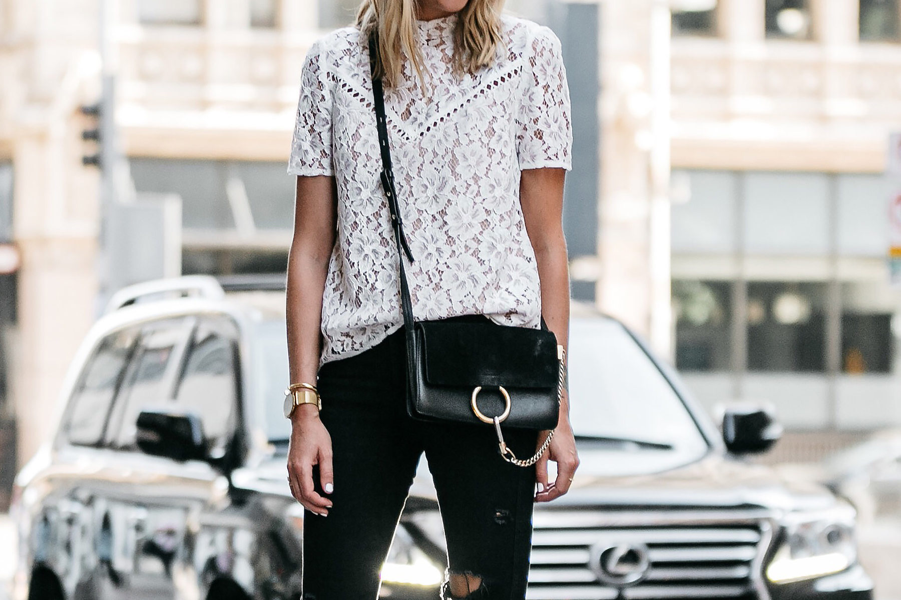 Nordstrom Anniversary Sale White Lace Top Zara Black Ripped Skinny Jeans Outfit Chloe Faye Handbag Fashion Jackson Dallas Blogger Fashion Blogger