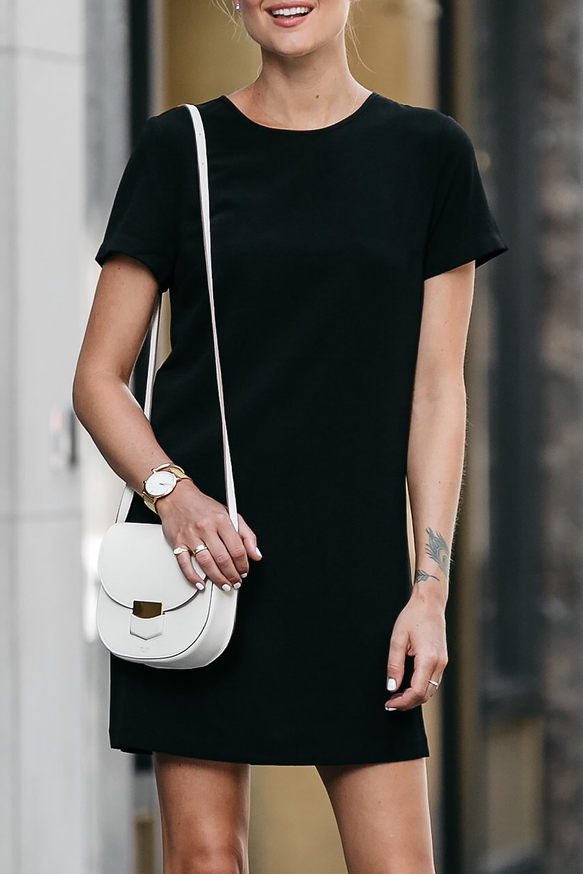 Nordstrom Black Shift Dress Outfit Celine White Trotteur Handbag Fashion Jackson Dallas Blogger Fashion Blogger Street Style