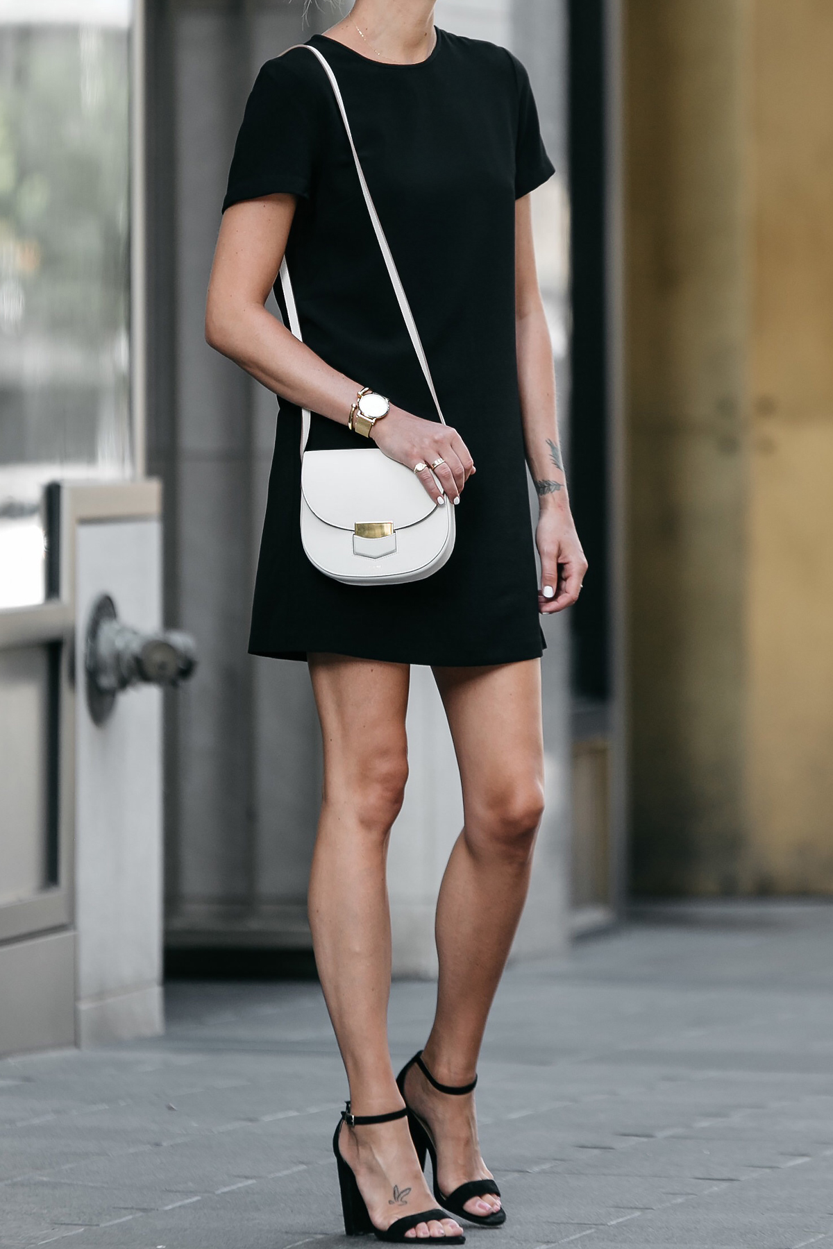Nordstrom Black Shift Dress Outfit Black Ankle Strap Heeled Sandals Celine White Trotteur Handbag Fashion Jackson Dallas Blogger Fashion Blogger Street Style