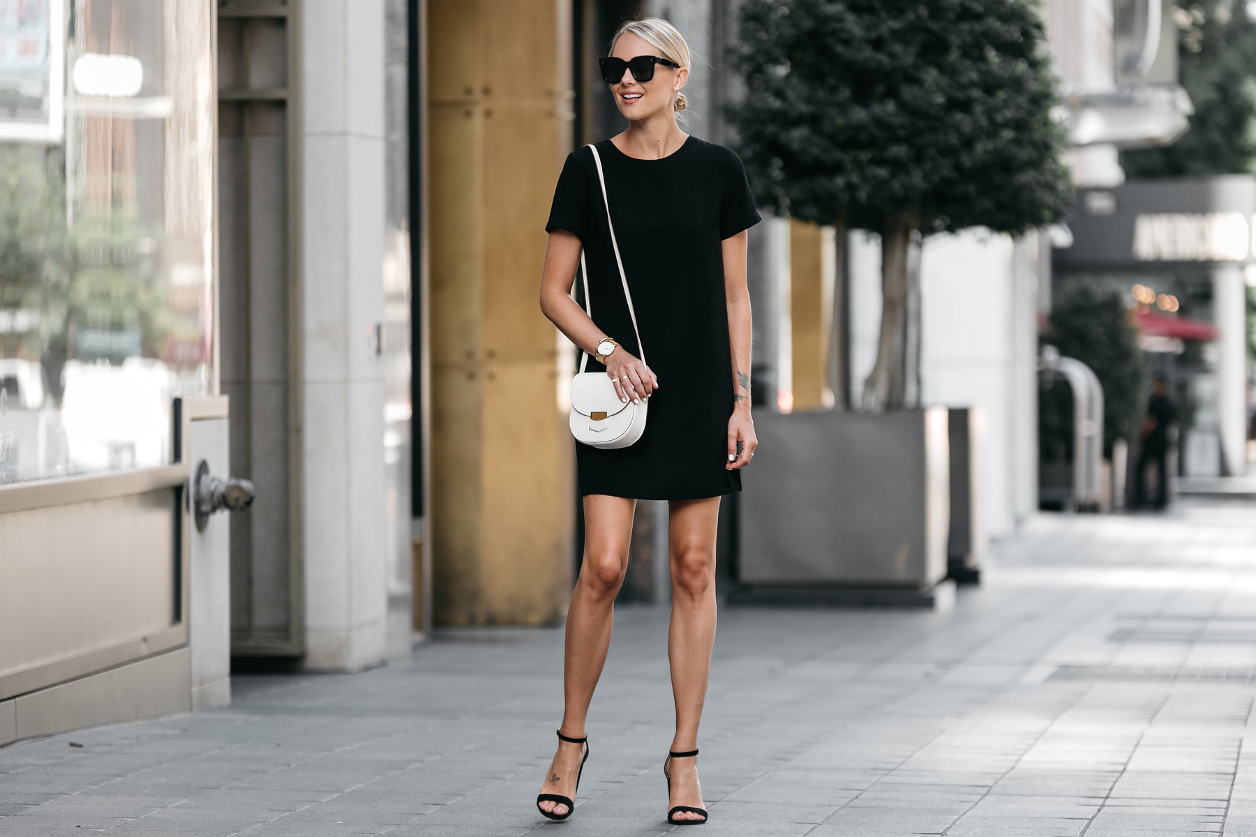 Blonde Wearing Nordstrom Black Shift Dress Outfit Black Ankle Strap Heeled Sandals Celine White Trotteur Handbag Fashion Jackson Dallas Blogger Fashion Blogger Street Style