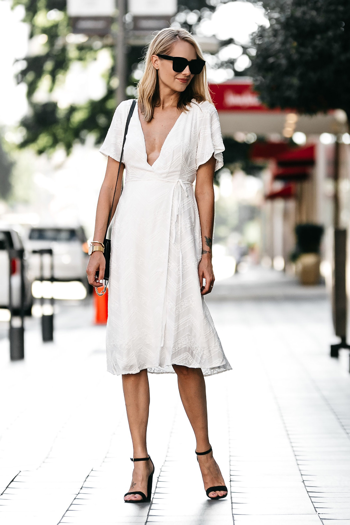 A Feminine White Wrap Dress Fashion Jackson