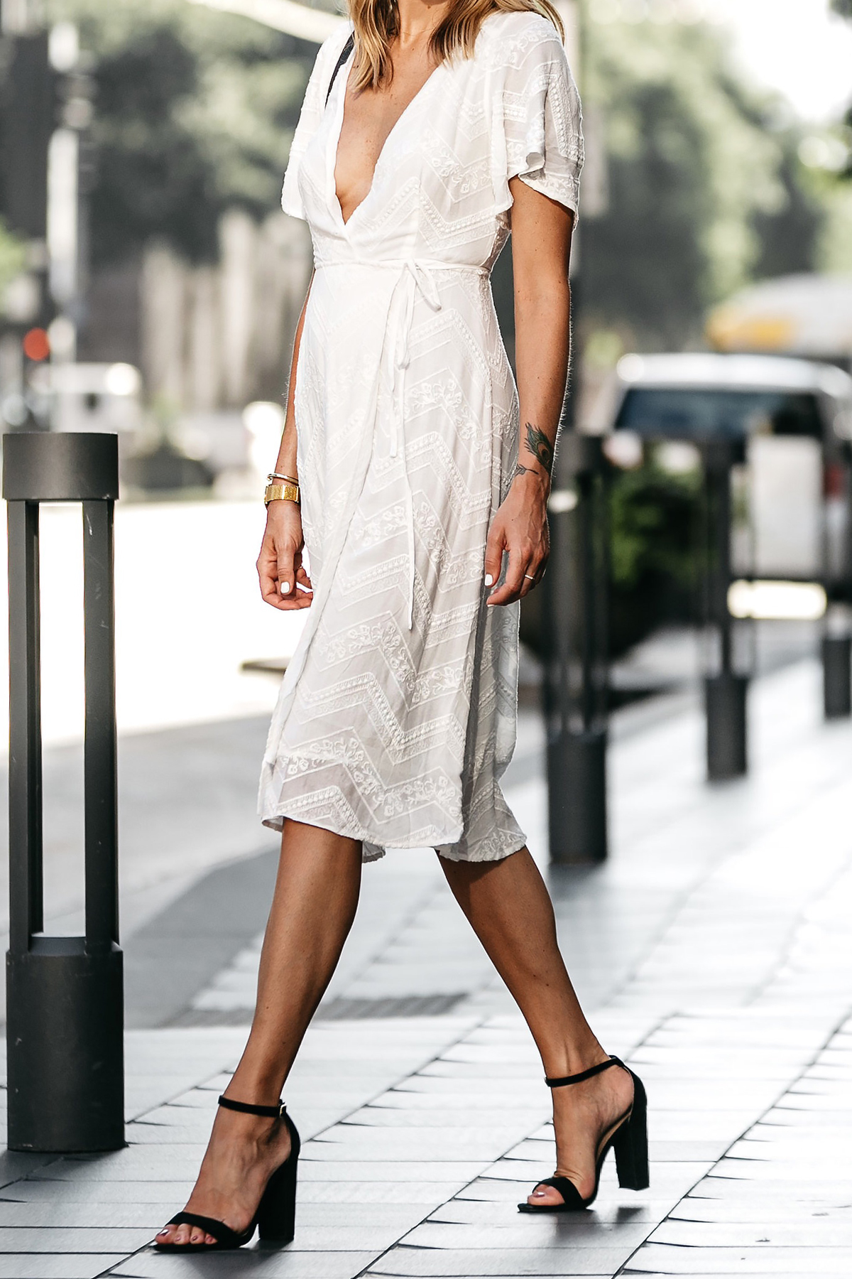 Blonde Woman Wearing Nordstrom Embroidered White Wrap Dress Black Ankle Strap Heeled Sandals Fashion Jackson Dallas Blogger Fashion Blogger