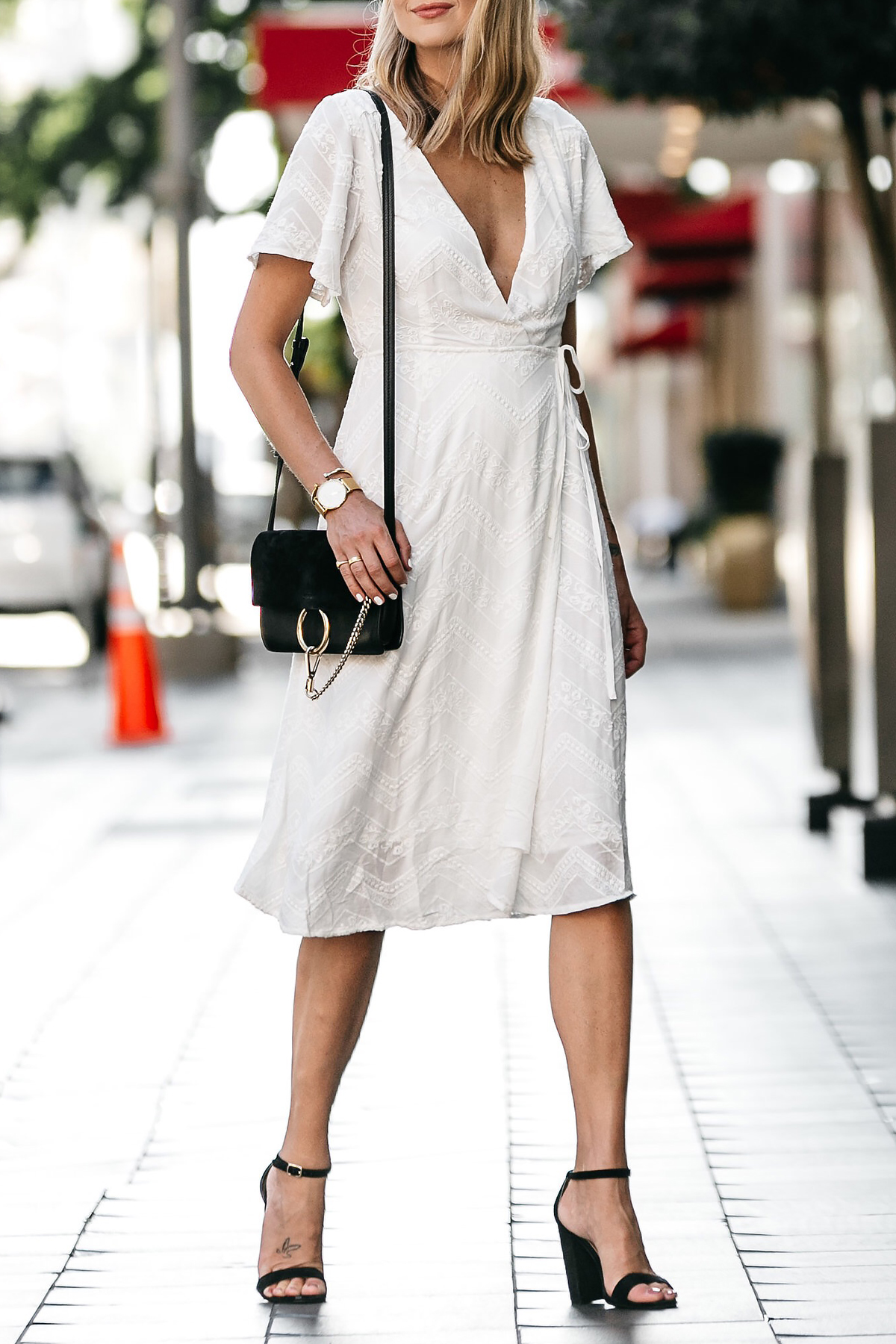 Blonde Woman Wearing Nordstrom Embroidered White Wrap Dress Chloe Faye Handbag Black Ankle Strap Heeled Sandals Fashion Jackson Dallas Blogger Fashion Blogger