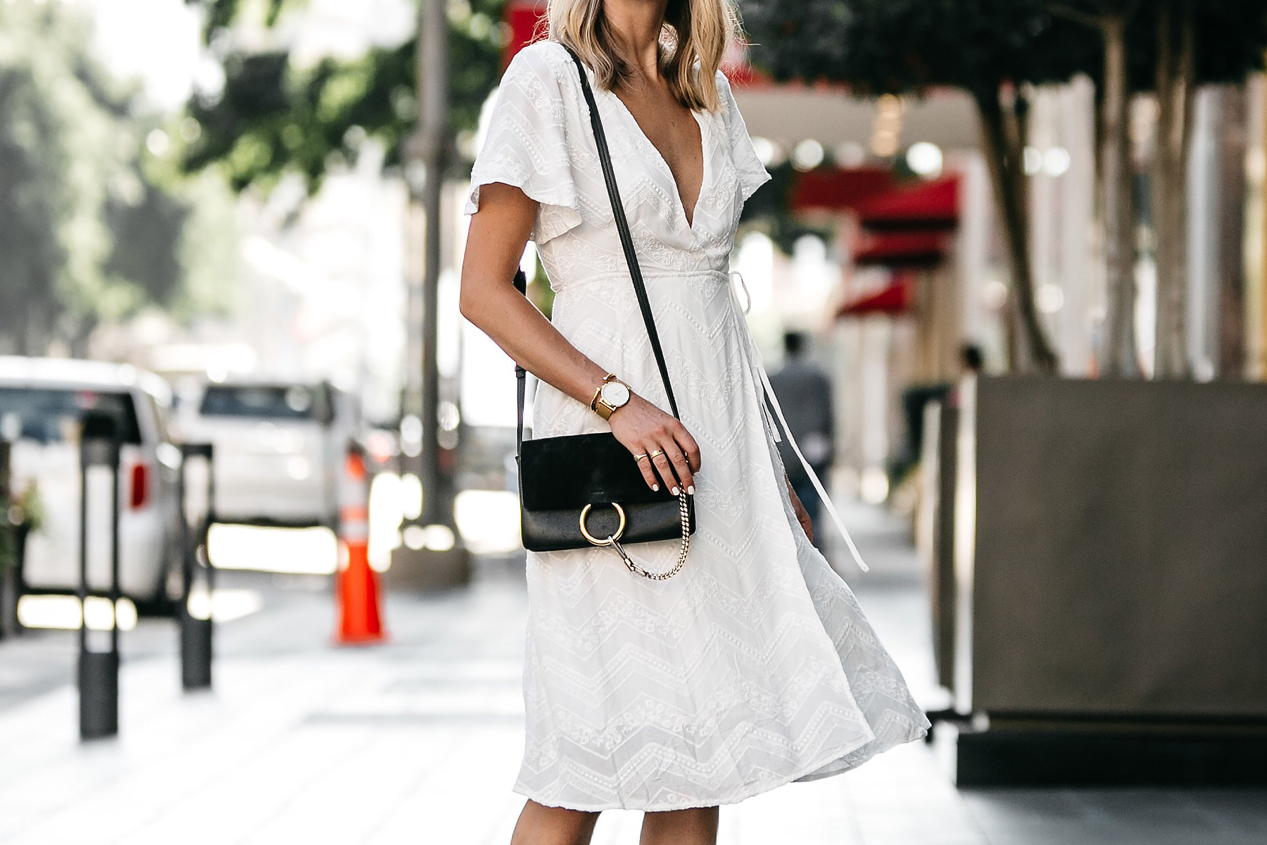 Blonde Woman Wearing Nordstrom Embroidered White Wrap Dress Chloe Faye Handbag Fashion Jackson Dallas Blogger Fashion Blogger