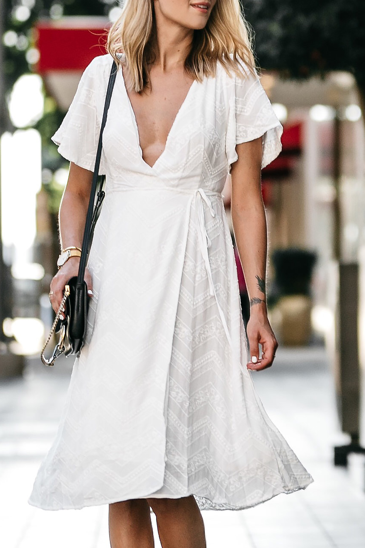 Blonde Woman Wearing Nordstrom Embroidered White Wrap Dress Fashion Jackson Dallas Blogger Fashion Blogger