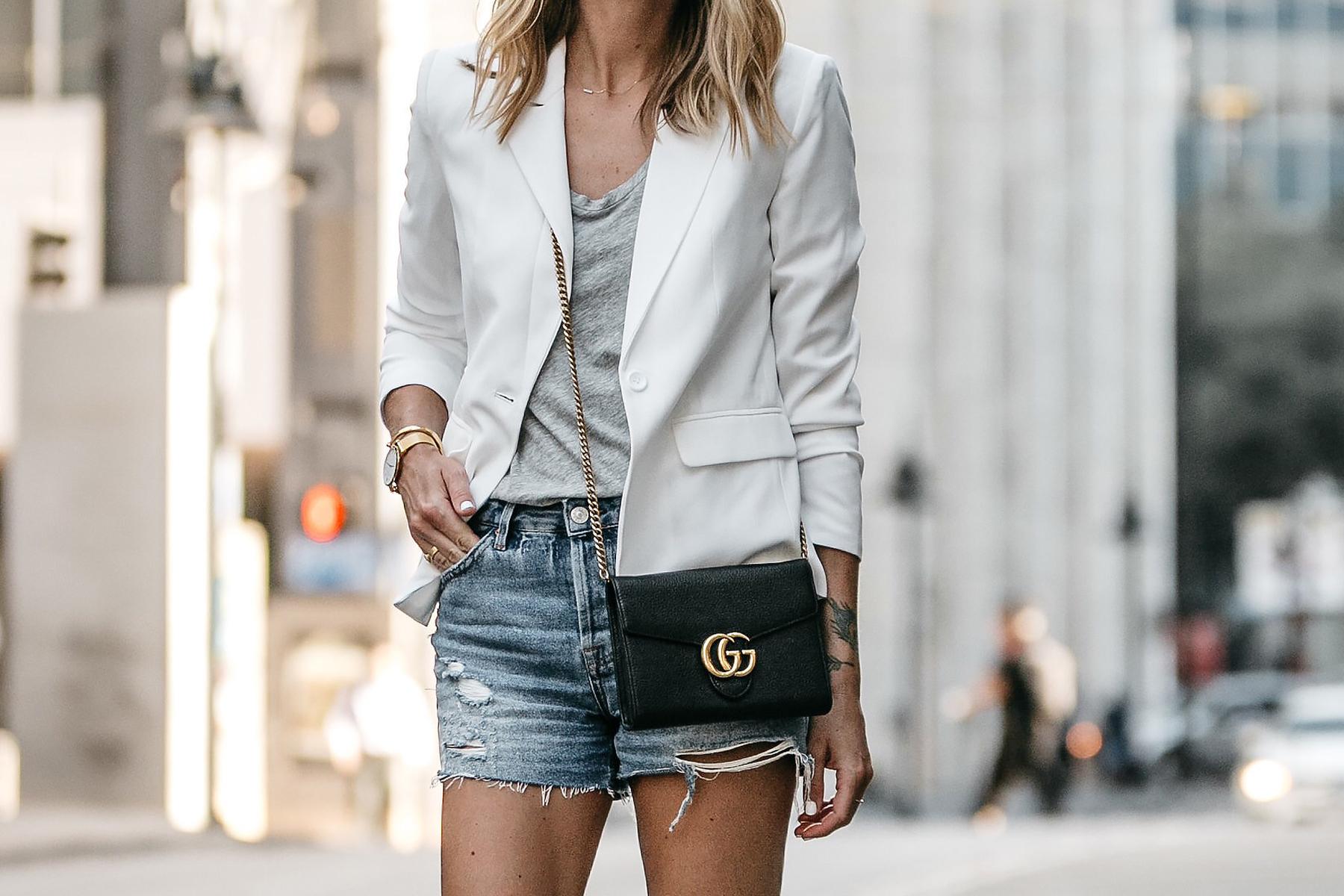 Nordstrom White Blazer Everlane Grey Tshirt Topshop Ripped Denim Shorts Outfit Gucci Marmont Handbag Fashion Jackson Dallas Blogger Fashion Blogger Street Style