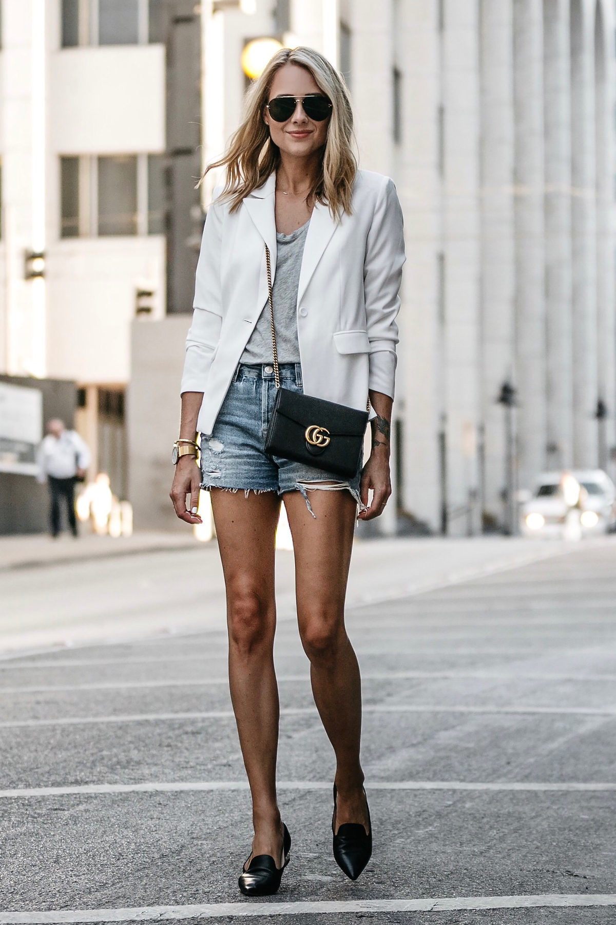 Blonde Woman Wearing Nordstrom White Blazer Everlane Grey Tshirt Topshop Ripped Denim Shorts Outfit Gucci Marmont Handbag Black Loafers Fashion Jackson Dallas Blogger Fashion Blogger Street Style