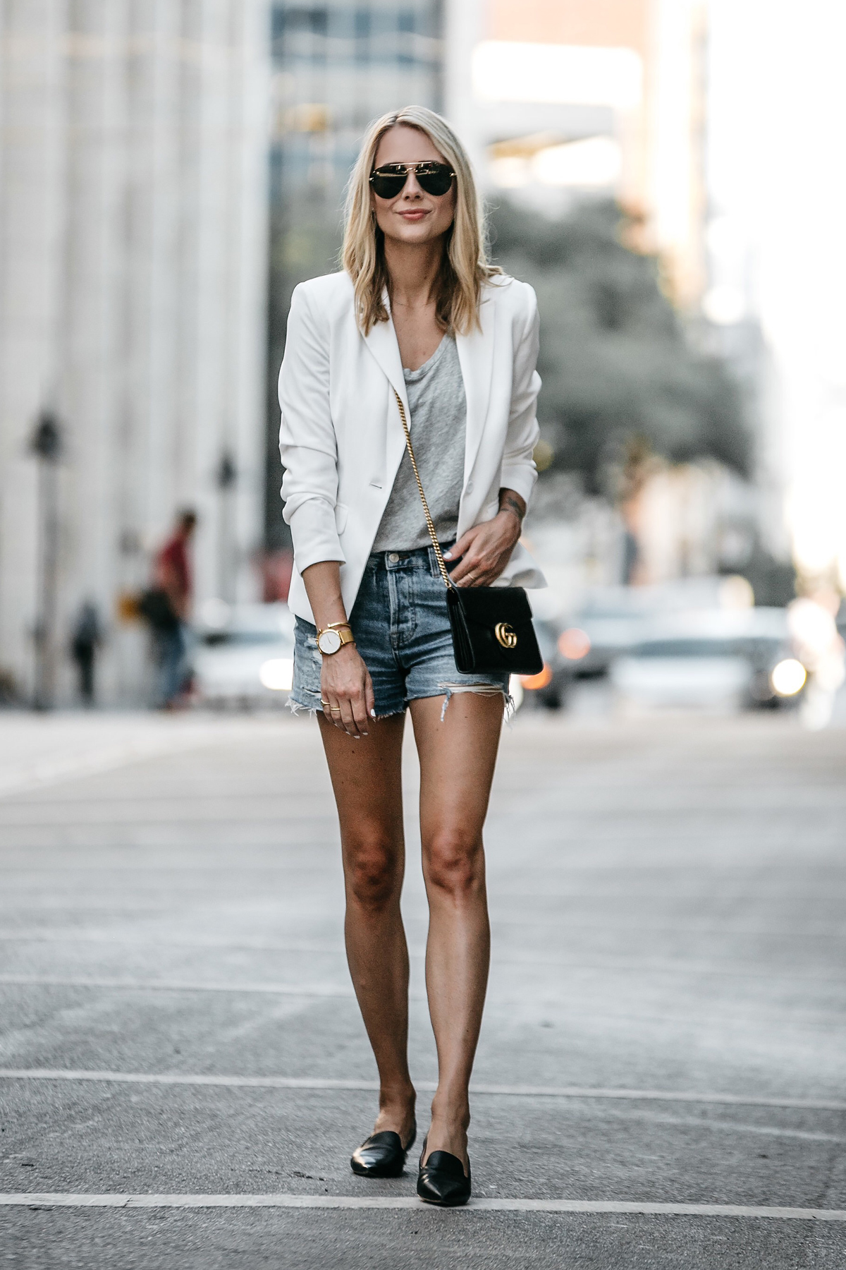 58e76499f81 Blonde Woman Wearing Nordstrom White Blazer Everlane Grey Tshirt Topshop  Ripped Denim Shorts Outfit Gucci Marmont
