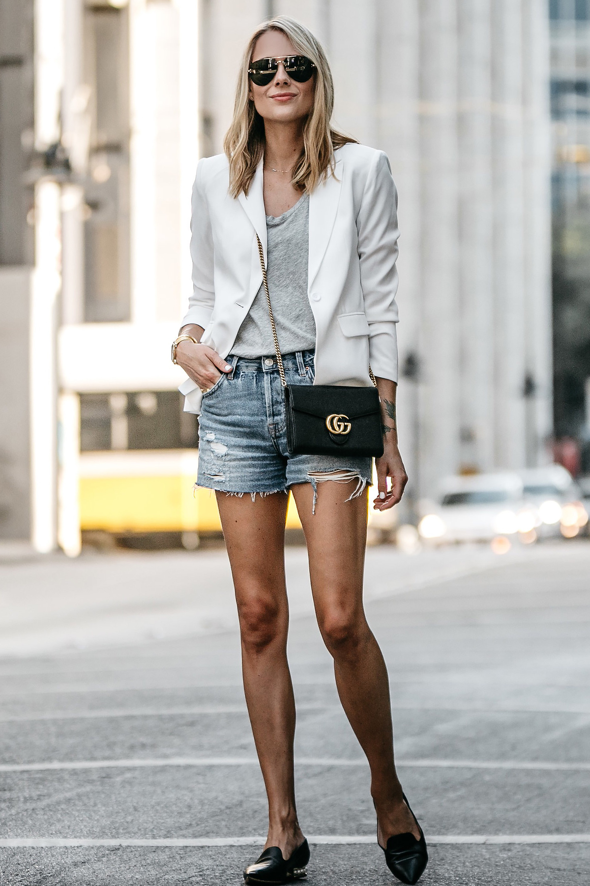 98db016ec83 Blonde Woman Wearing Nordstrom White Blazer Everlane Grey Tshirt Topshop  Ripped Denim Shorts Outfit Gucci Marmont