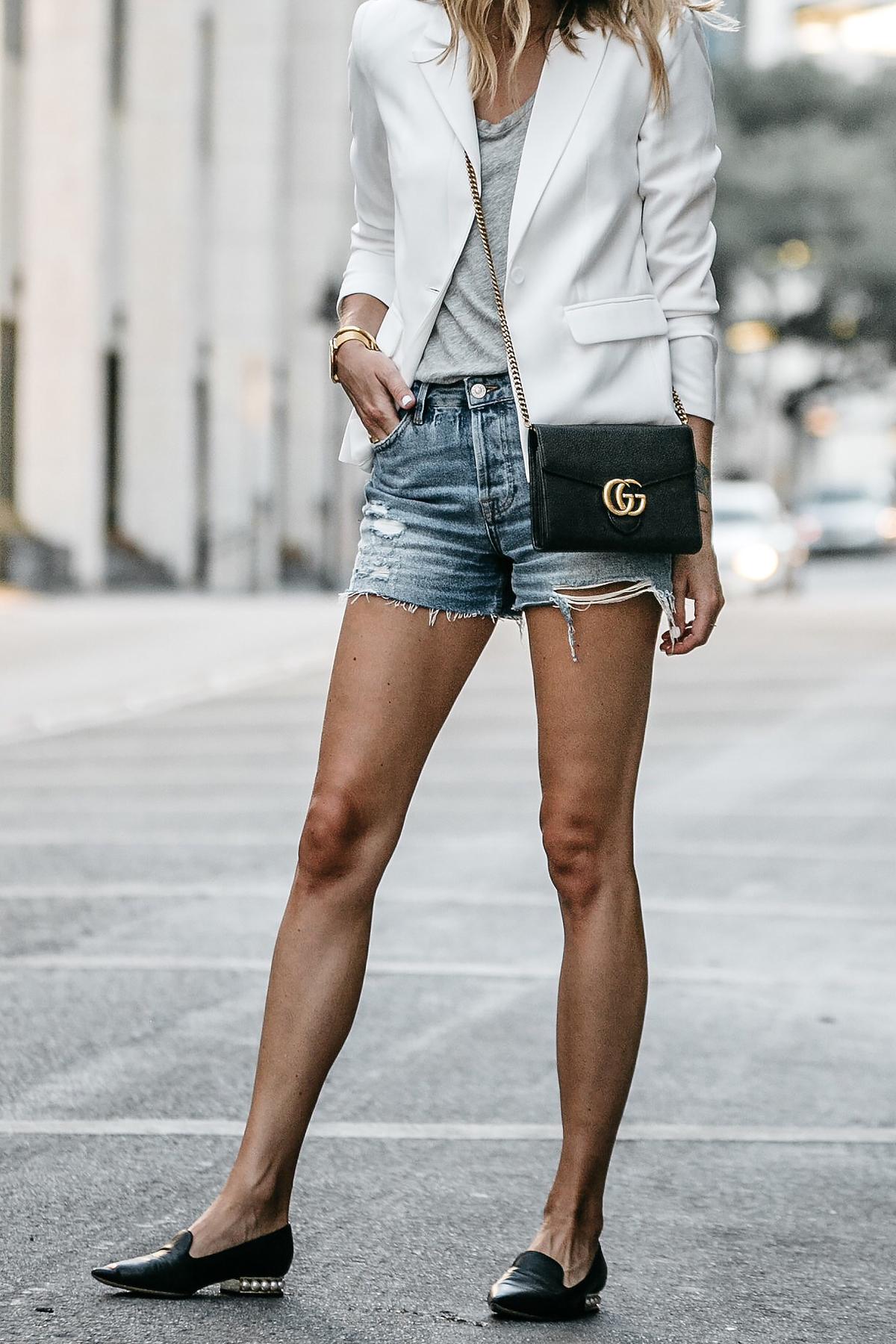 Nordstrom White Blazer Everlane Grey Tshirt Topshop Ripped Denim Shorts Outfit Gucci Marmont Handbag Black Loafers Fashion Jackson Dallas Blogger Fashion Blogger Street Style