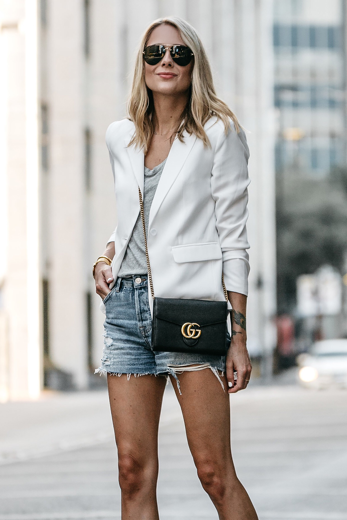 Blonde Woman Wearing Nordstrom White Blazer Everlane Grey Tshirt Topshop Ripped Denim Shorts Outfit Gucci Marmont Handbag Fashion Jackson Dallas Blogger Fashion Blogger Street Style