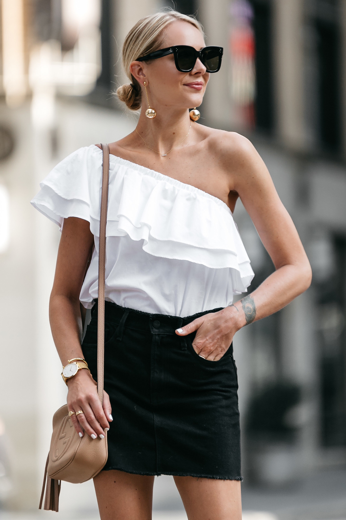 Blonde Woman Wearing Nordstrom White One Shoulder Ruffle Top Frame Black Denim Skirt Outfit Gucci Soho Handbag Fashion Jackson Dallas Blogger Fashion Blogger Street Style