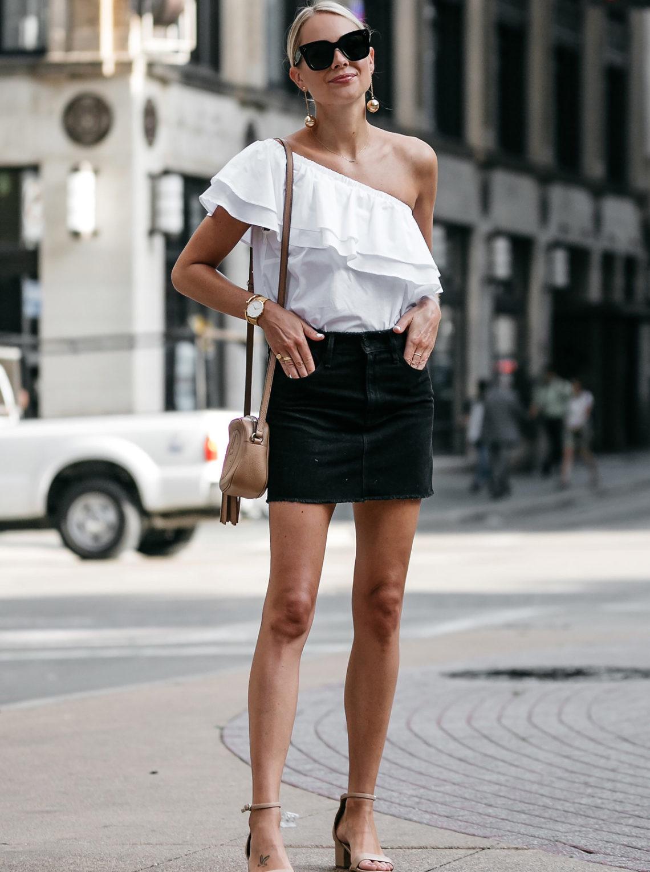 Blonde Woman Wearing Nordstrom White One Shoulder Ruffle Top Frame Black Denim Skirt Outfit Nude Ankle Strap Heeled Sandals Gucci Soho Handbag Fashion Jackson Dallas Blogger Fashion Blogger Street Style