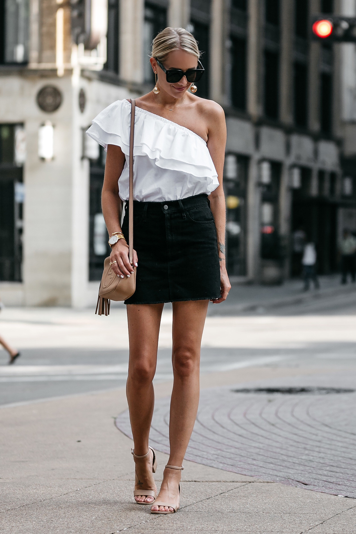 Blonde Woman Wearing Nordstrom White One Shoulder Ruffle Top Frame Black Denim Skirt Outfit Nude Ankle Strap Heeled Sandals Gucci Soho Handbag Fashion Jackson Dallas Blogger Fashion Blogger Street Style