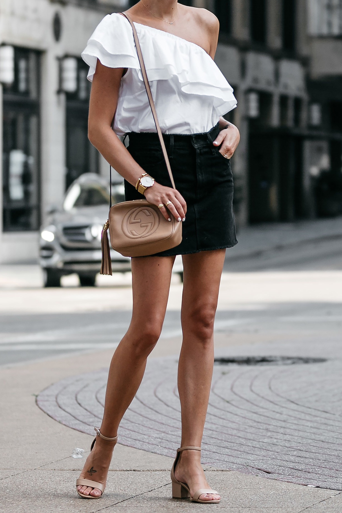 Nordstrom White One Shoulder Ruffle Top Frame Black Denim Skirt Outfit Nude Ankle Strap Heeled Sandals Gucci Soho Handbag Fashion Jackson Dallas Blogger Fashion Blogger Street Style
