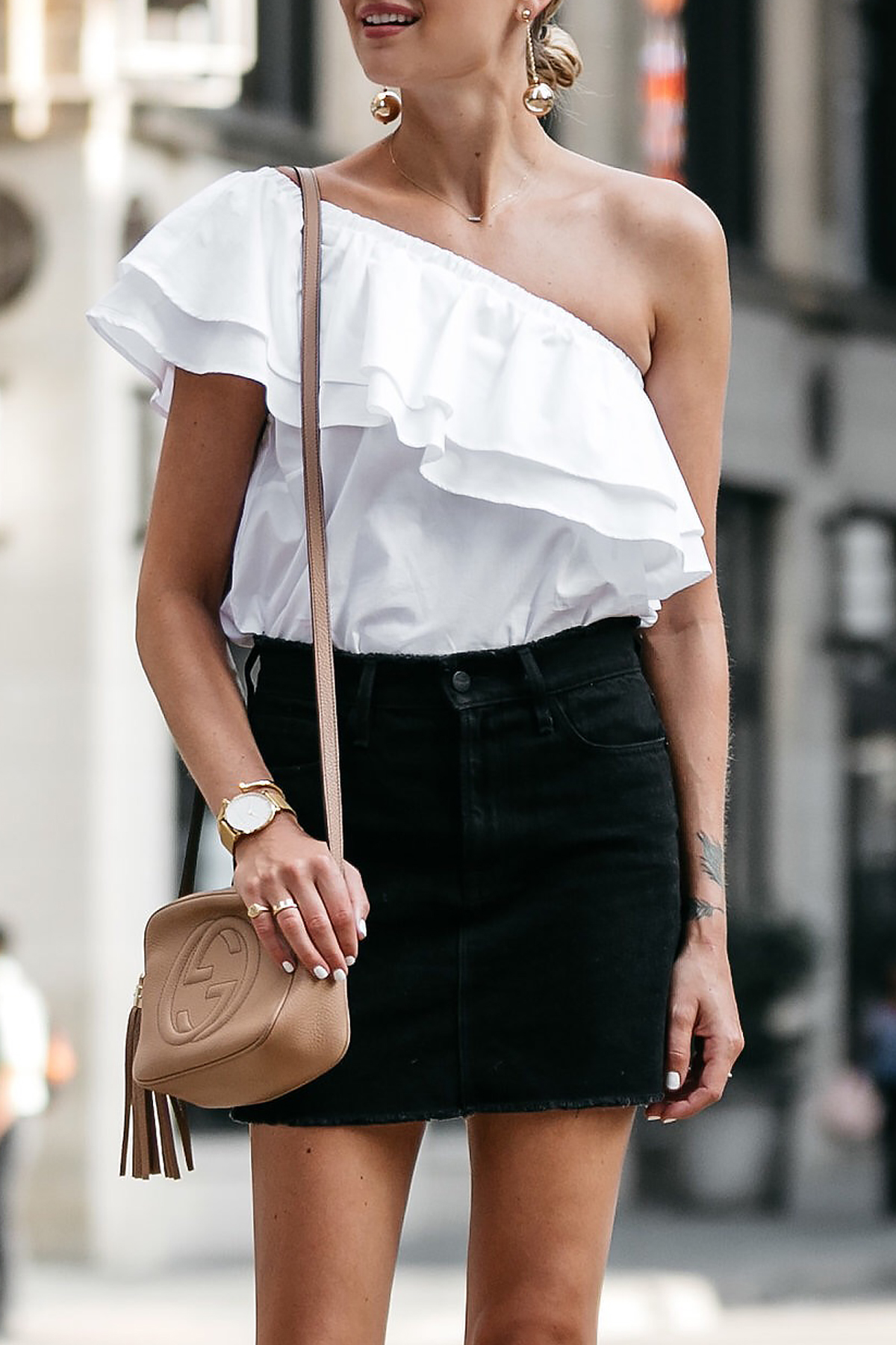 Nordstrom White One Shoulder Ruffle Top Frame Black Denim Skirt Outfit Gucci Soho Handbag Fashion Jackson Dallas Blogger Fashion Blogger Street Style