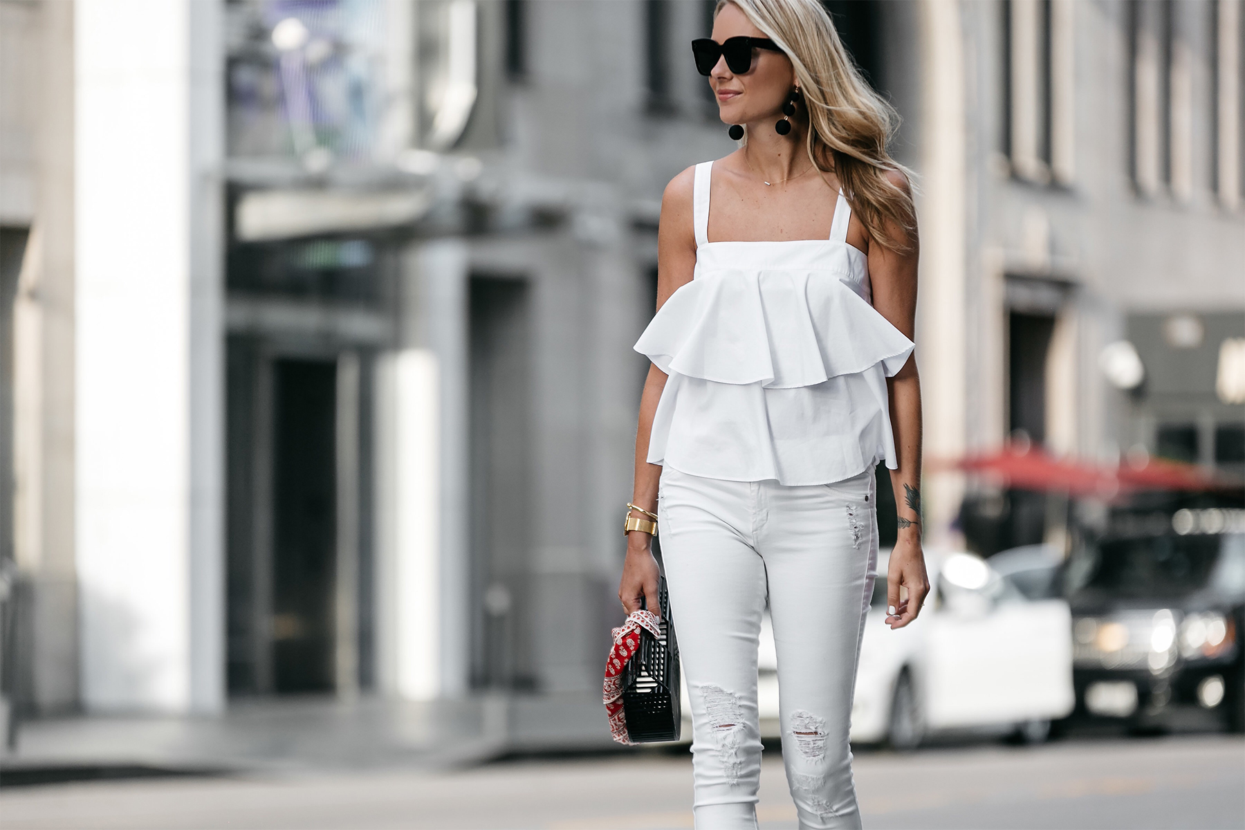 Blonde Woman Wearing Nordstrom White Ruffle Tank White Ripped Skinny Jeans Outfit Cult Gaia Black Acrylic Clutch Red Bandana Fashion Jackson Dallas Blogger Fashion Blogger Street Style
