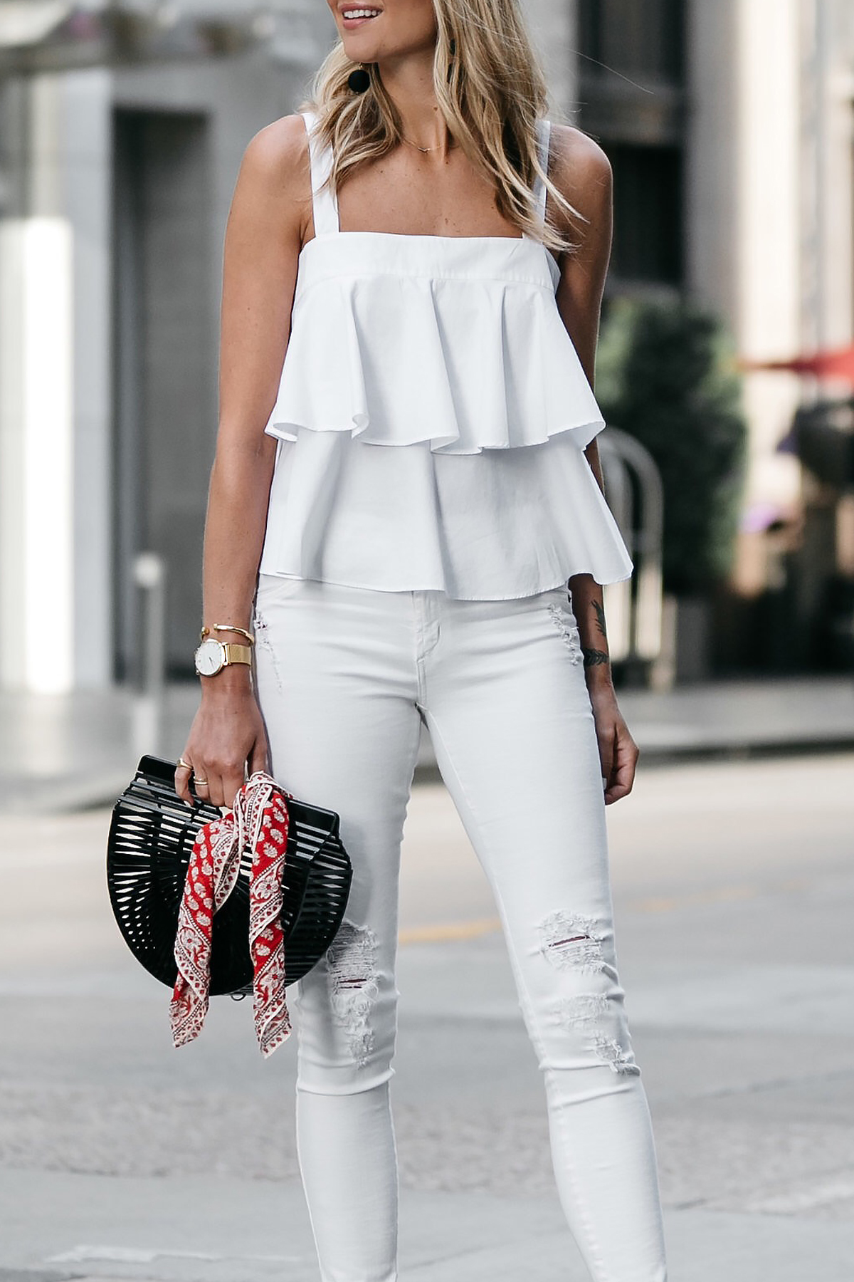 Nordstrom White Ruffle Tank White Ripped Skinny Jeans Outfit Cult Gaia Black Acrylic Clutch Red Bandana Fashion Jackson Dallas Blogger Fashion Blogger Street Style