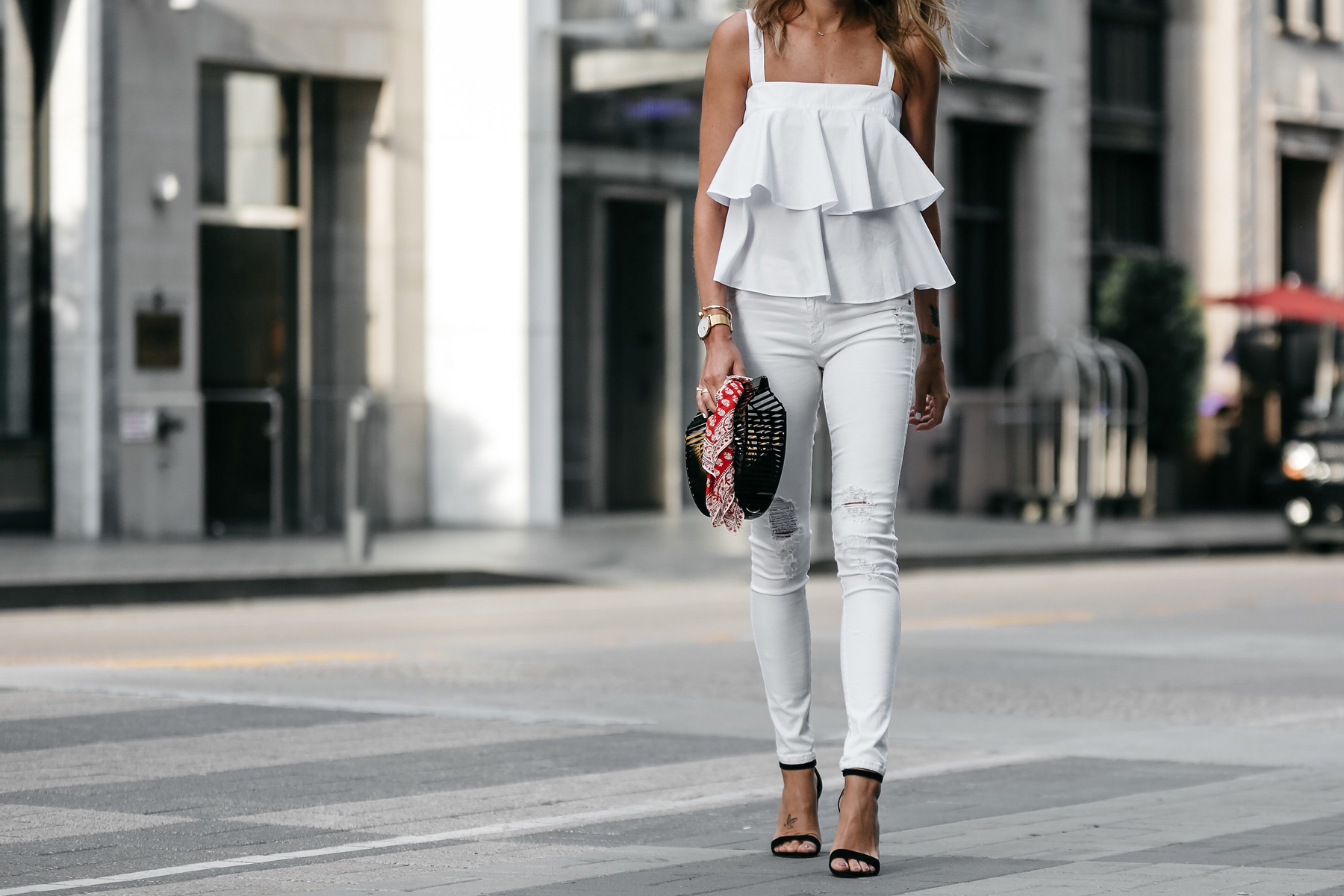 Nordstrom White Ruffle Tank White Ripped Skinny Jeans Outfit Black Ankle Strap Heeled Sandals Cult Gaia Black Acrylic Clutch Red Bandana Fashion Jackson Dallas Blogger Fashion Blogger Street Style