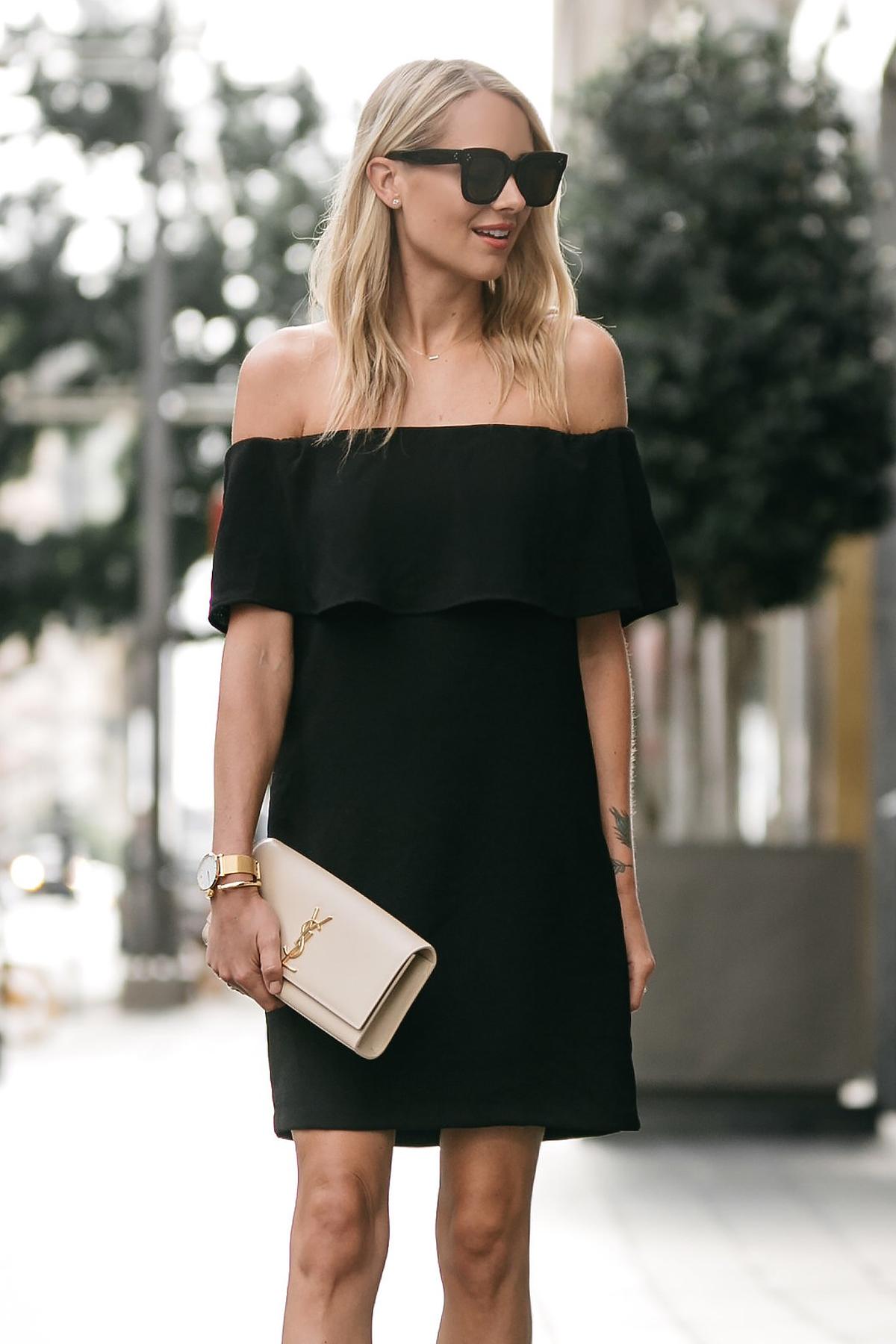 Blonde woman wearing Nordstrom off the shoulder black dress YSL nude clutch little black dress street style dallas blogger fashion blogger