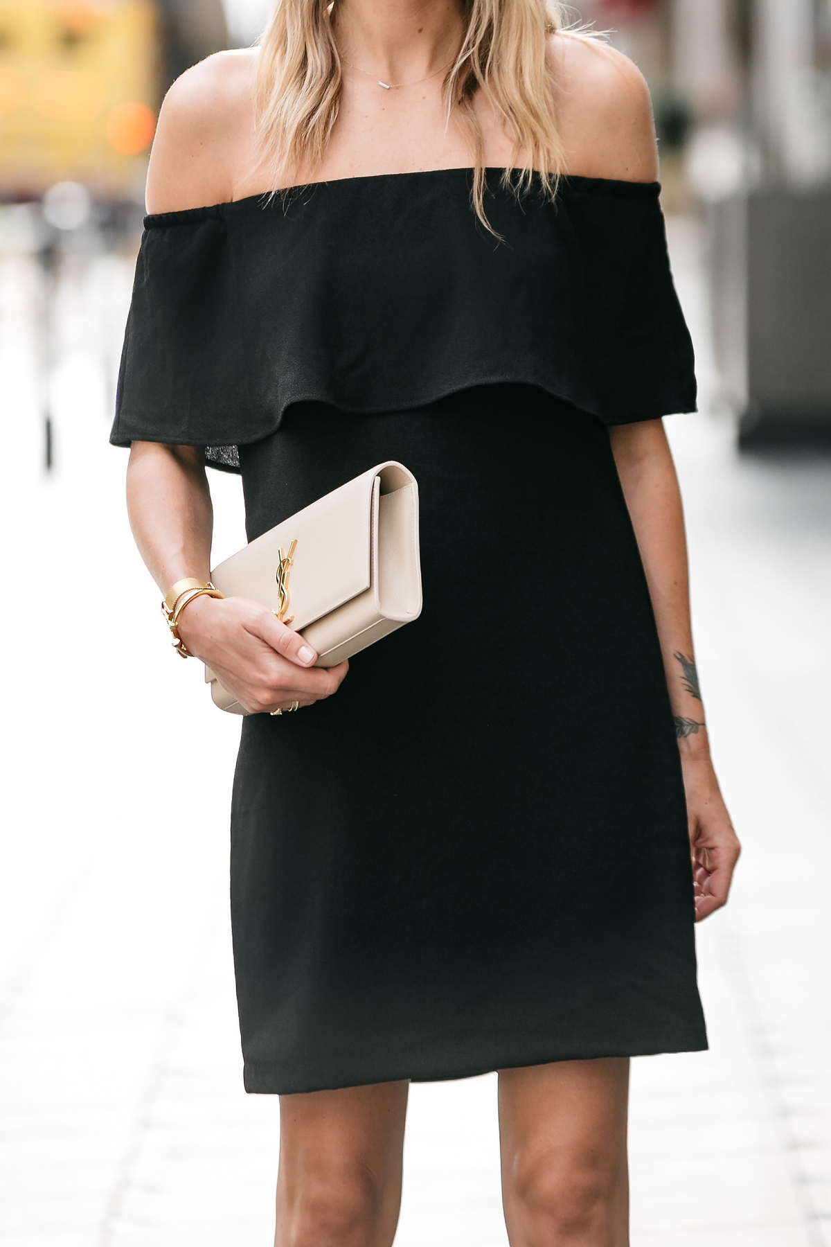 Nordstrom off the shoulder black dress YSL nude clutch little black dress street style dallas blogger fashion blogger