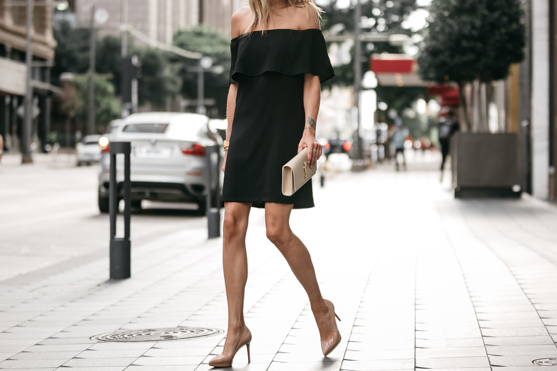 Nordstrom off the shoulder black dress YSL nude clutch christian louboutin nude pumps little black dress street style dallas blogger fashion blogger