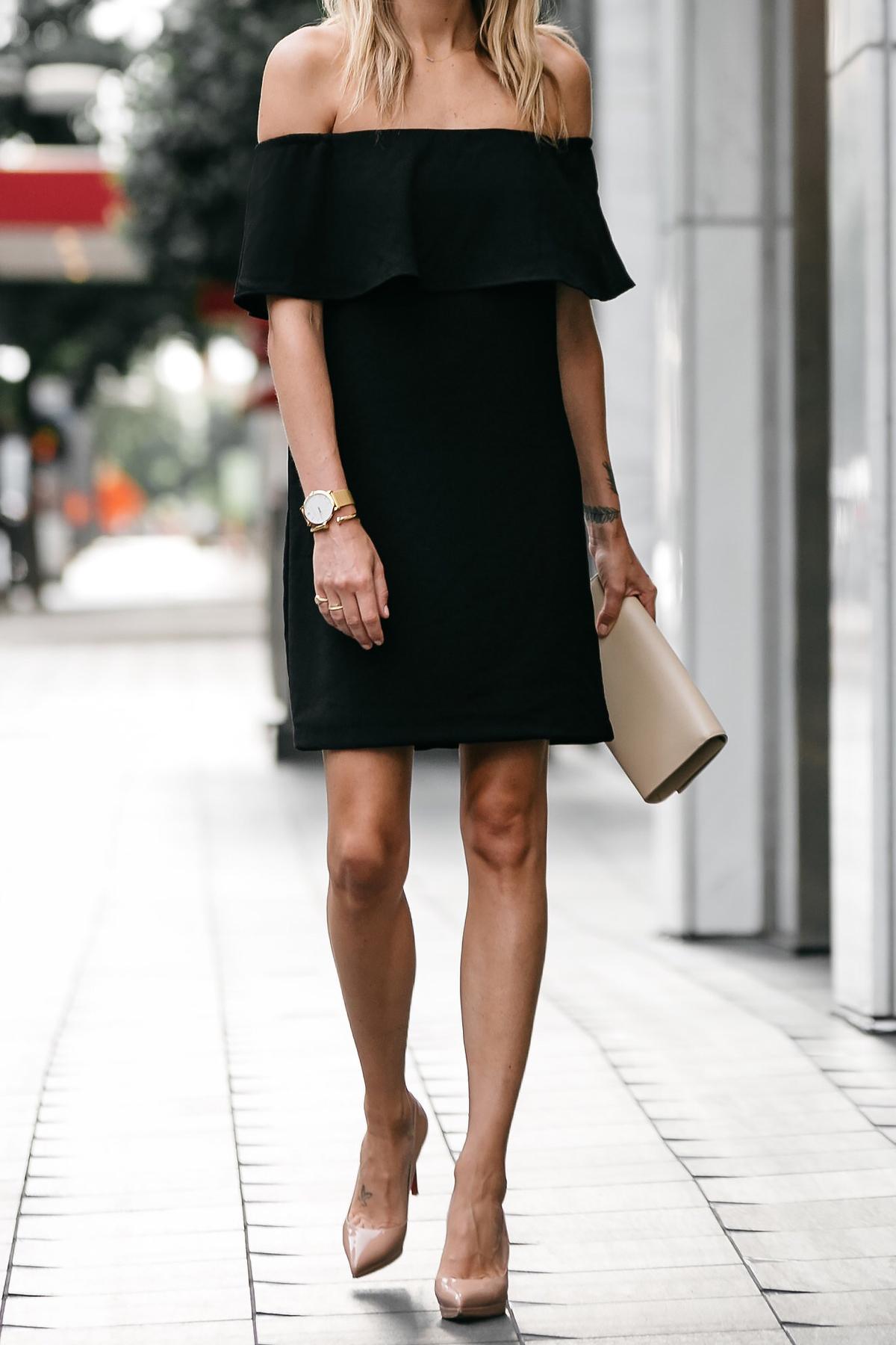 Under 100 Off The Shoulder Black Dress  Fashion Jackson-4564