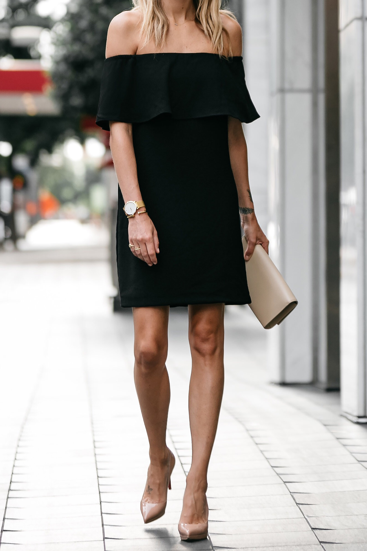 Nordstrom off the shoulder black dress YSL nude clutch christian louboutin nude pumps little black dress street style dallas blogger fashion blogger