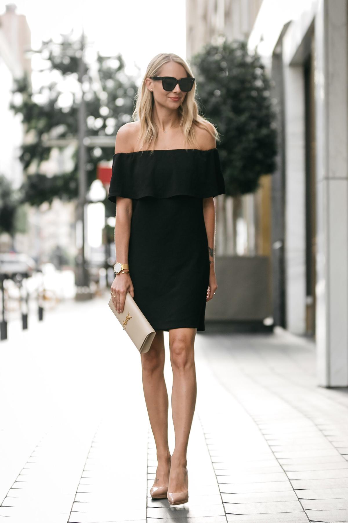 Under 100 Off The Shoulder Black Dress  Fashion Jackson-9375