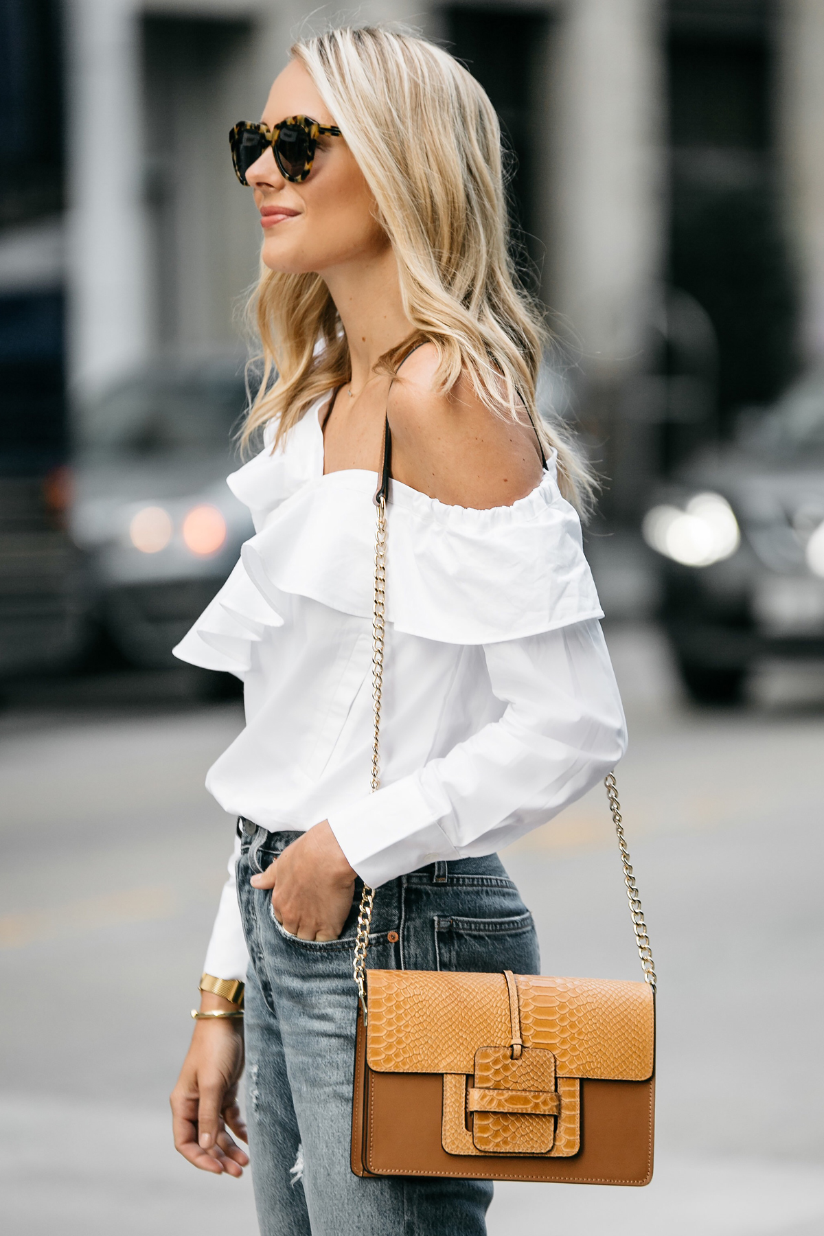 Blonde Woman Wearing Shopbop White Asymmetrical Ruffle Top Street Style Dallas Blogger Fashion Blogger