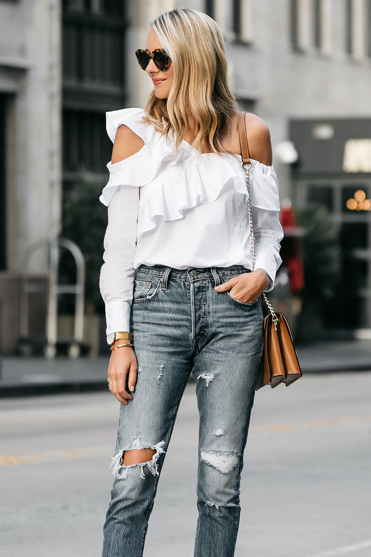 Blonde Woman Wearing Shopbop White Asymmetrical Ruffle Top Levis Denim Ripped Skinny Jeans Street Style Dallas Blogger Fashion Blogger