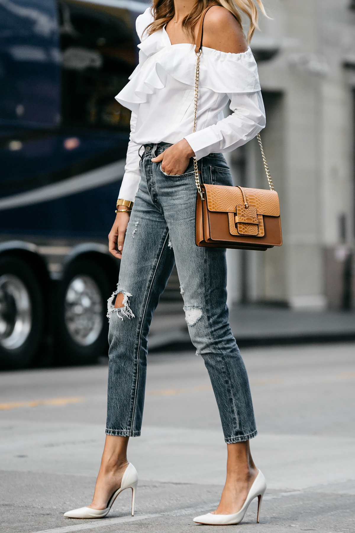 Shopbop White Asymmetrical Ruffle Top Levis Denim Ripped Skinny Jeans Christian Louboutin White Pumps Street Style Dallas Blogger Fashion Blogger