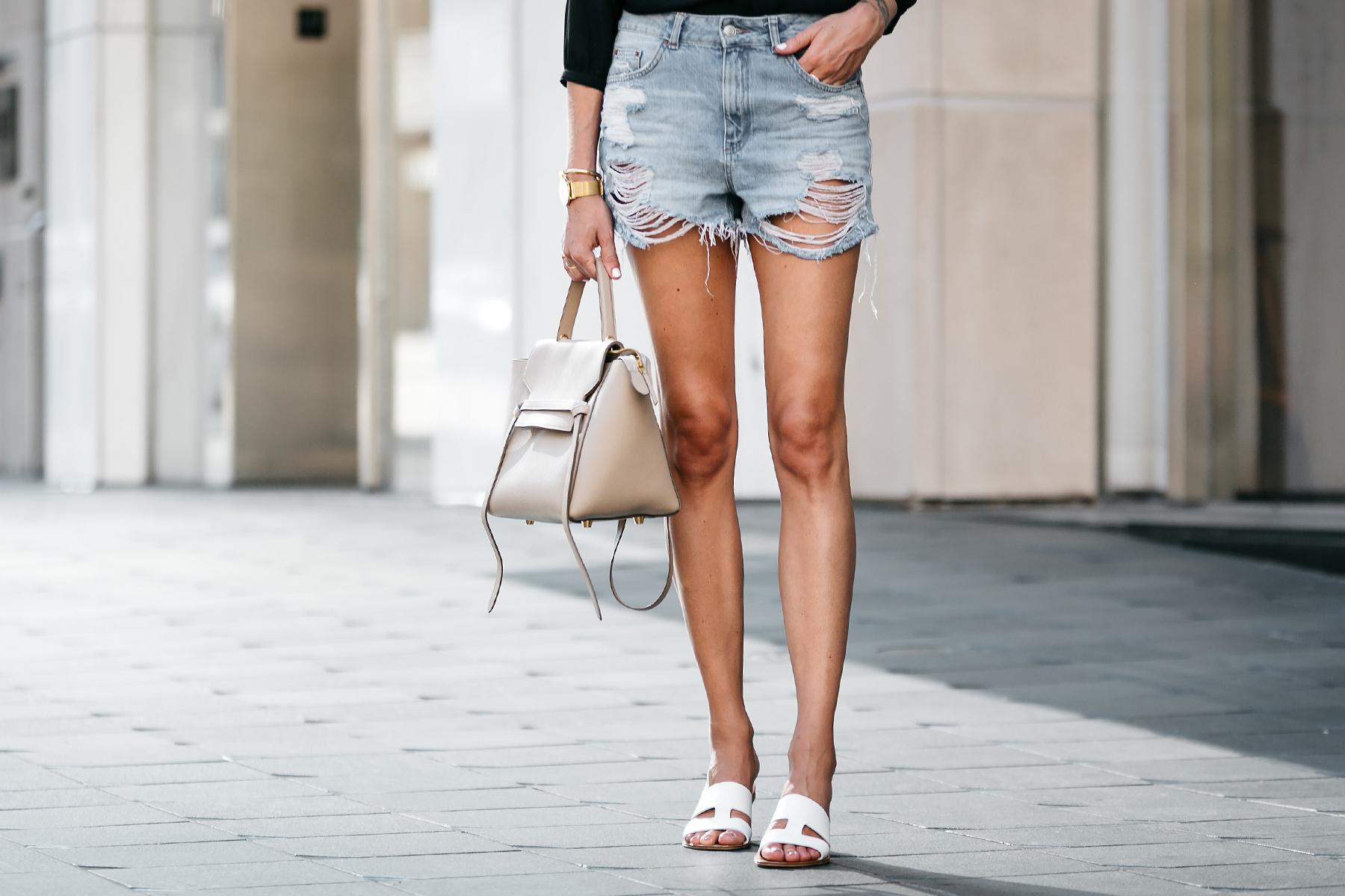 Nodstrom Topshop Denim Ripped Mom Shorts Celine Belt Bag Everlane White Bridge Sandals Fashion Jackson Dallas Blogger Fashion Blogger Street Style
