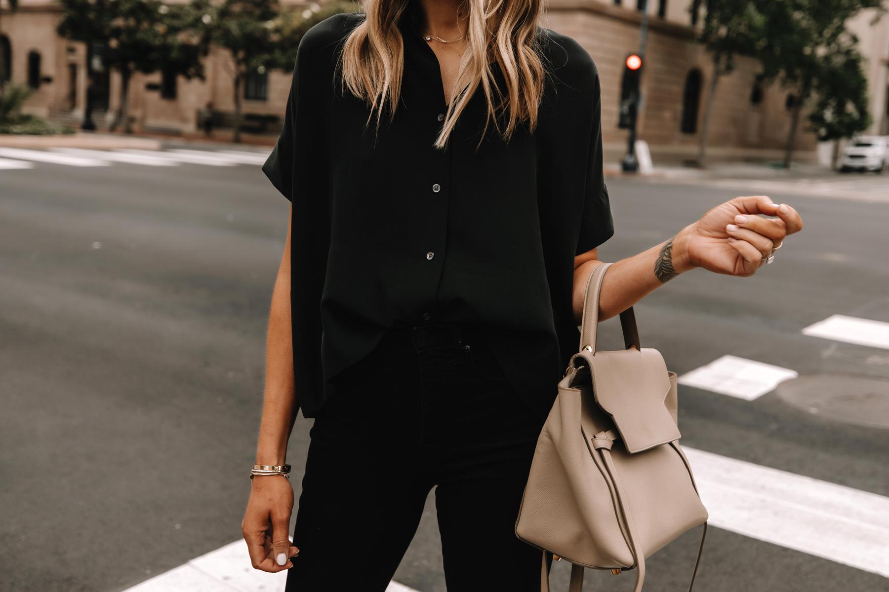 Fashion Jackson Wearing Everlane Black Button Down Top Black Jeans Celine Taupe Mini Belt Bag