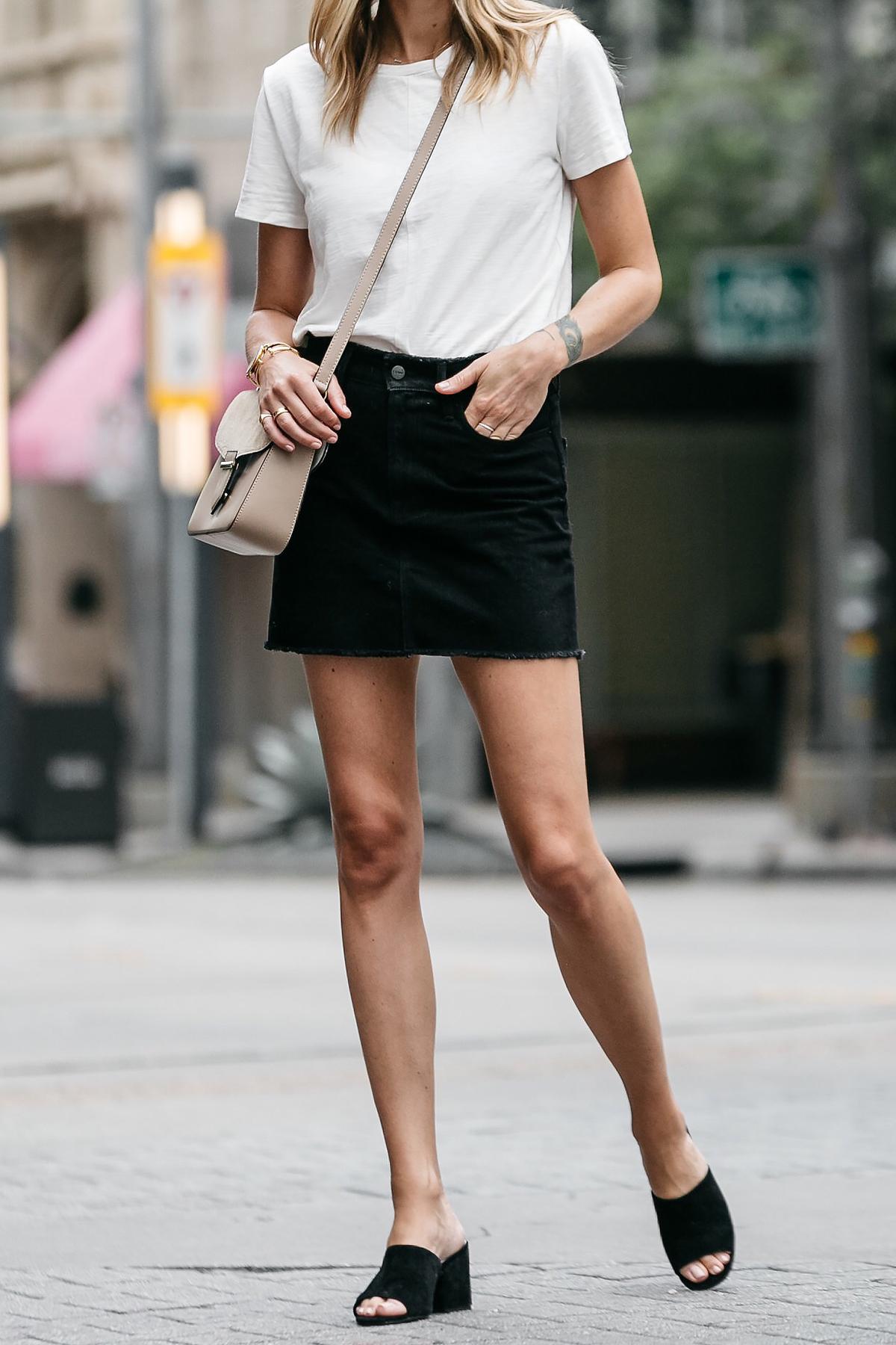 white tshirt frame black denim skirt outfit black mules tan crossbody handbag street style dallas blogger fashion blogger
