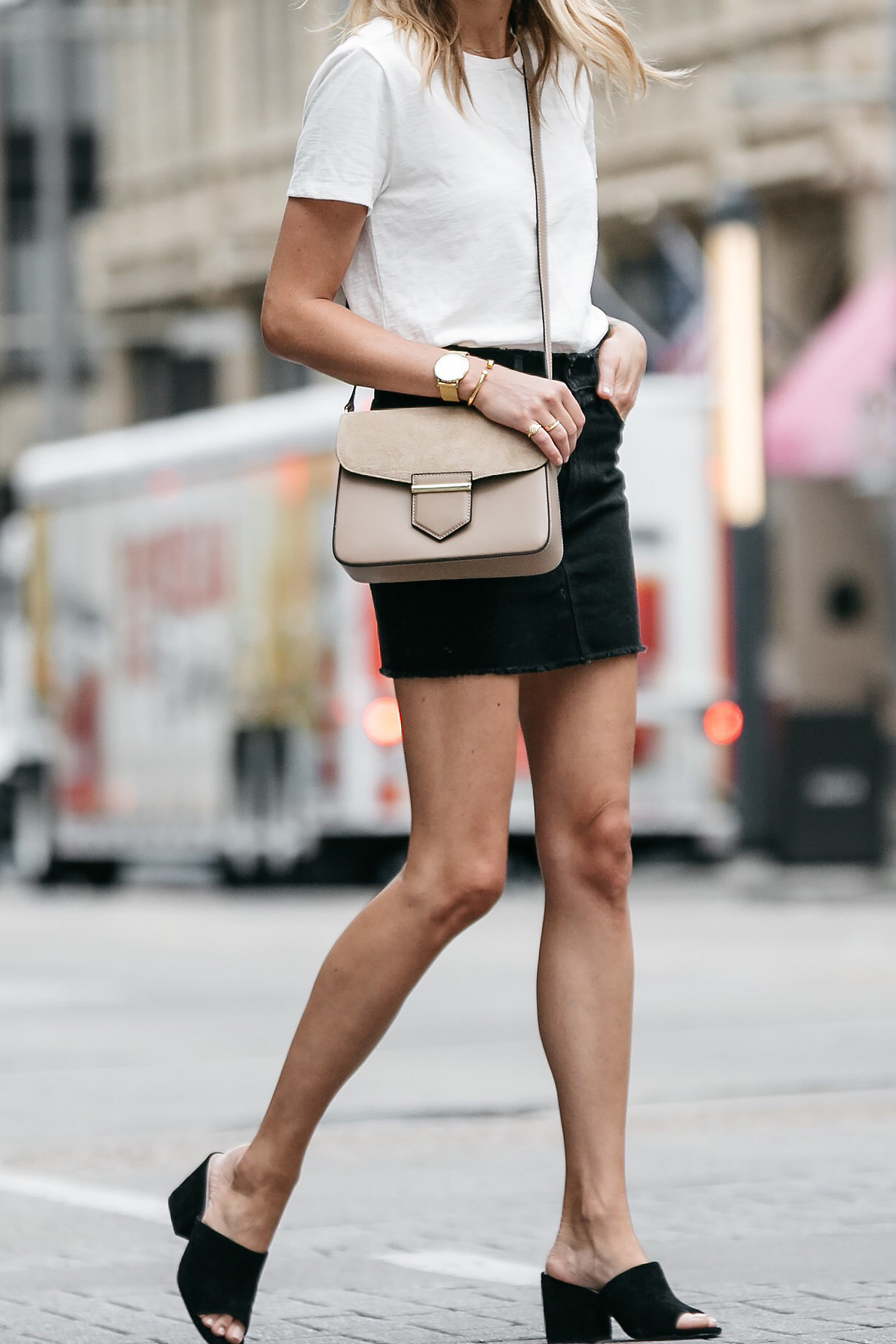 white tshirt frame black denim skirt outfit black mules tan crossbody handbag street style dallas blogger fashion blogger